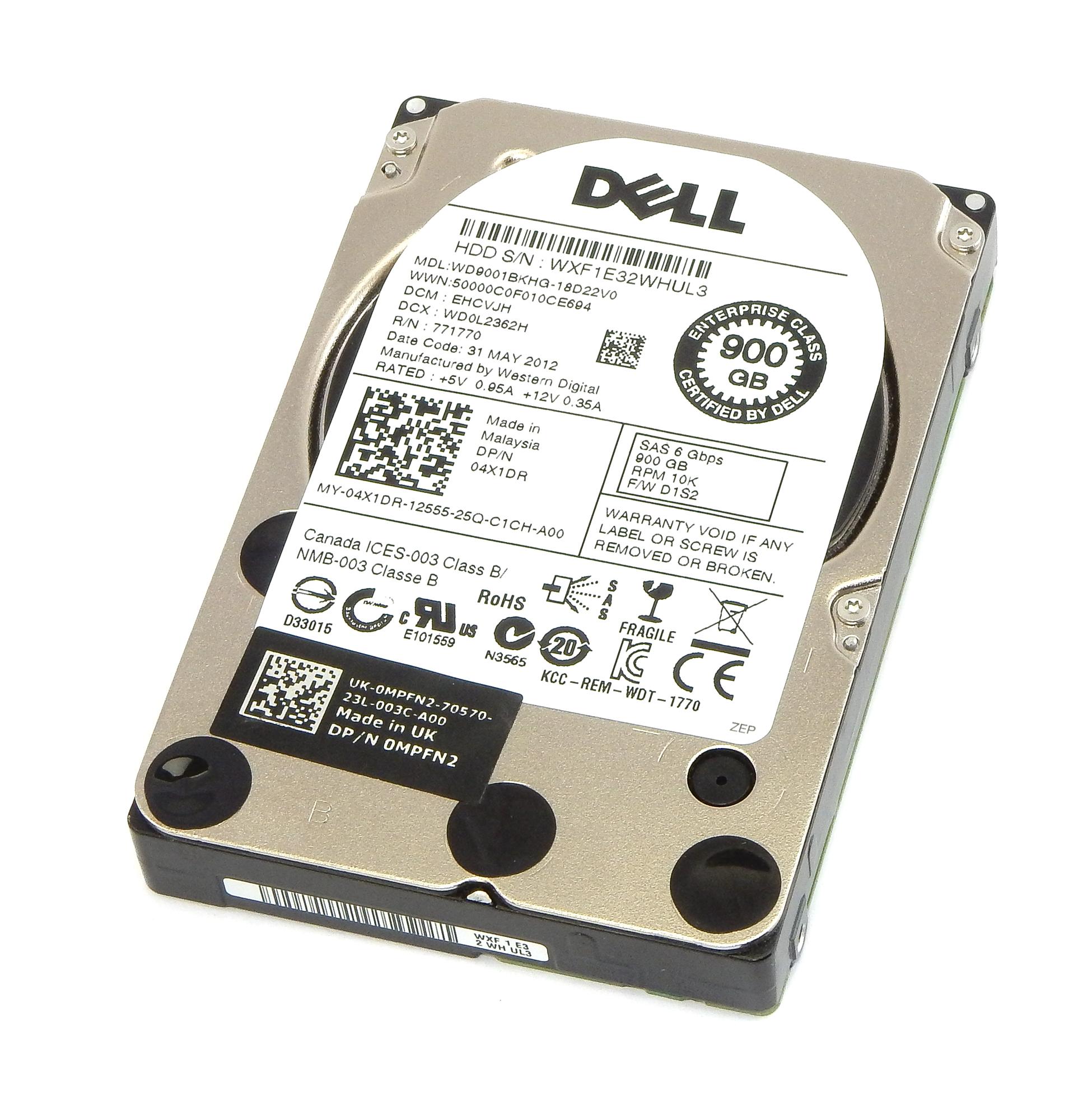 "Dell 4X1DR WD WD9001BKHG-18D22V0 2.5"" 10K 900GB SAS Hard Drive"