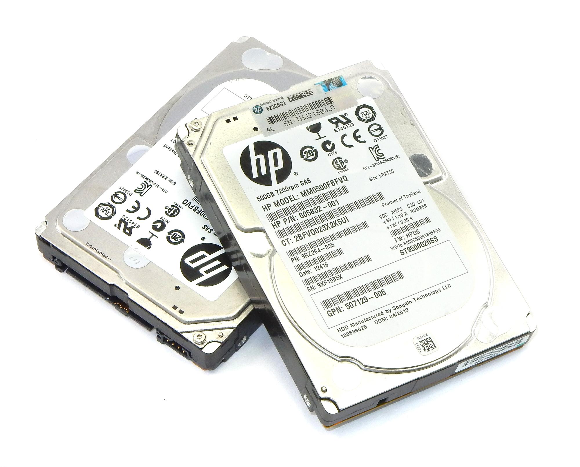 """2x HP 605832-001 500GB 7200 RPM SAS 2.5"""" HDD Seagate ST9500620SS"""