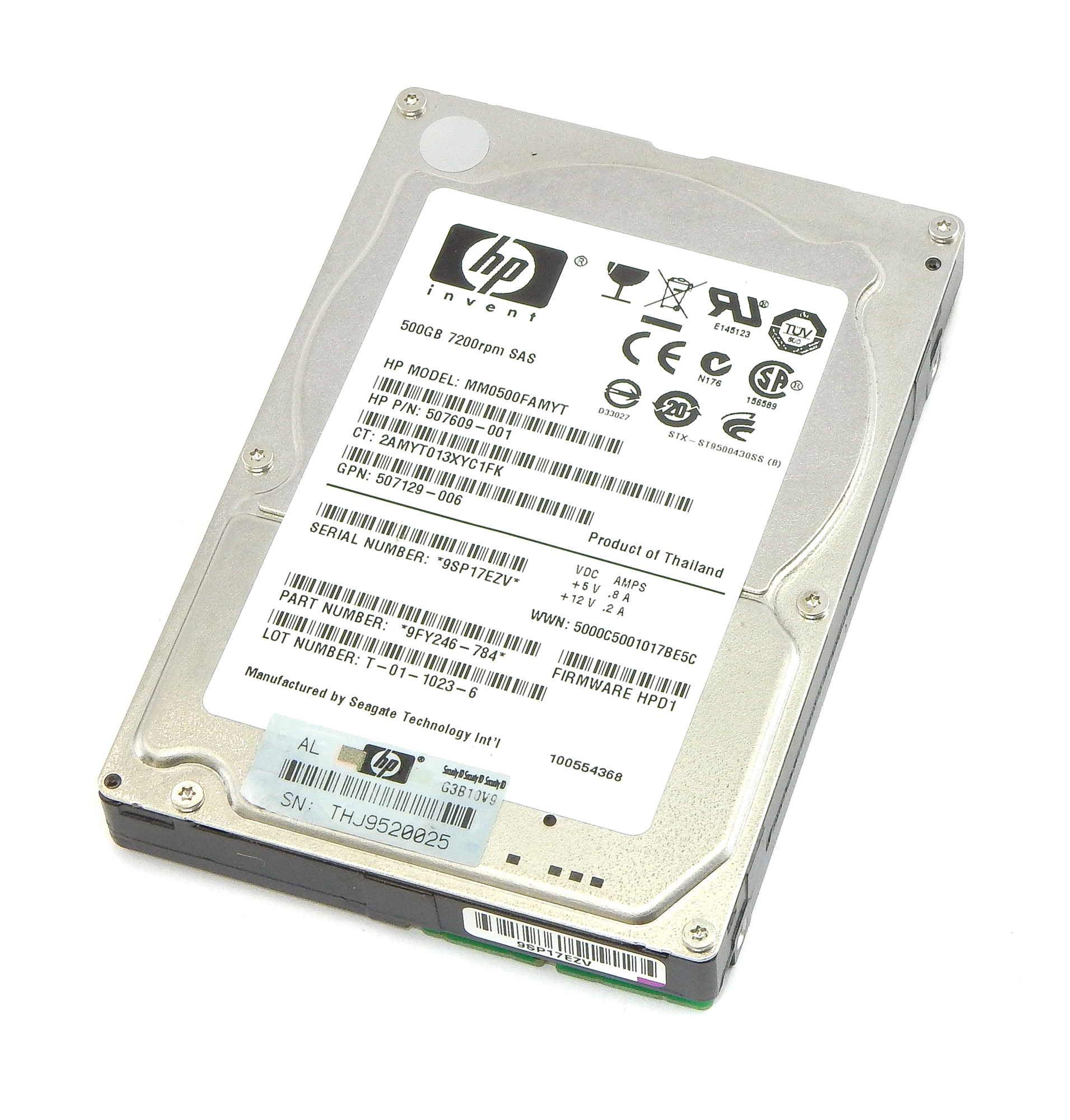 "HP 507609-001 Seagate ST9500430SS 2.5"" 7.2K 500GB SAS Hard Drive"