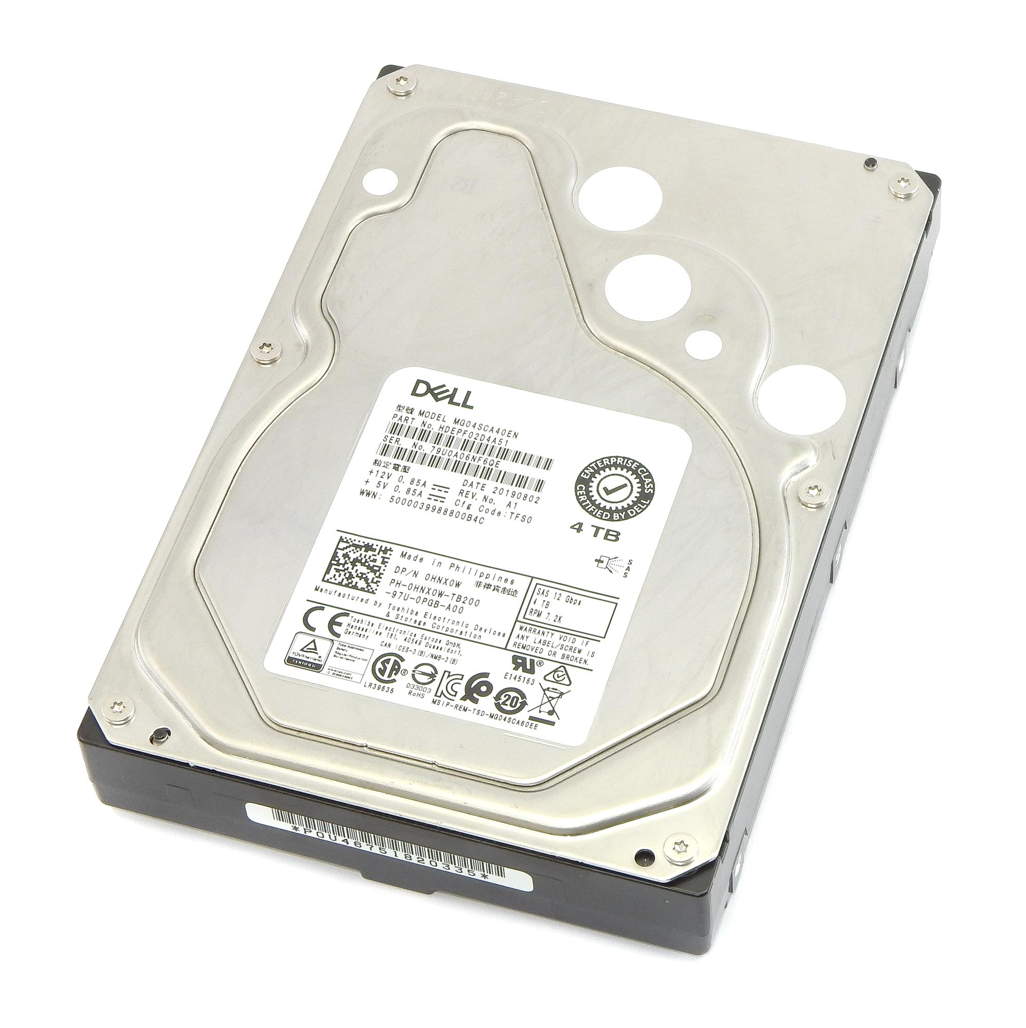 """Dell HNX0W Enterprise 4TB 7.2K SAS 3.5"""" 12 Gbps Hard Drive Toshiba MG04SCA40EN"""