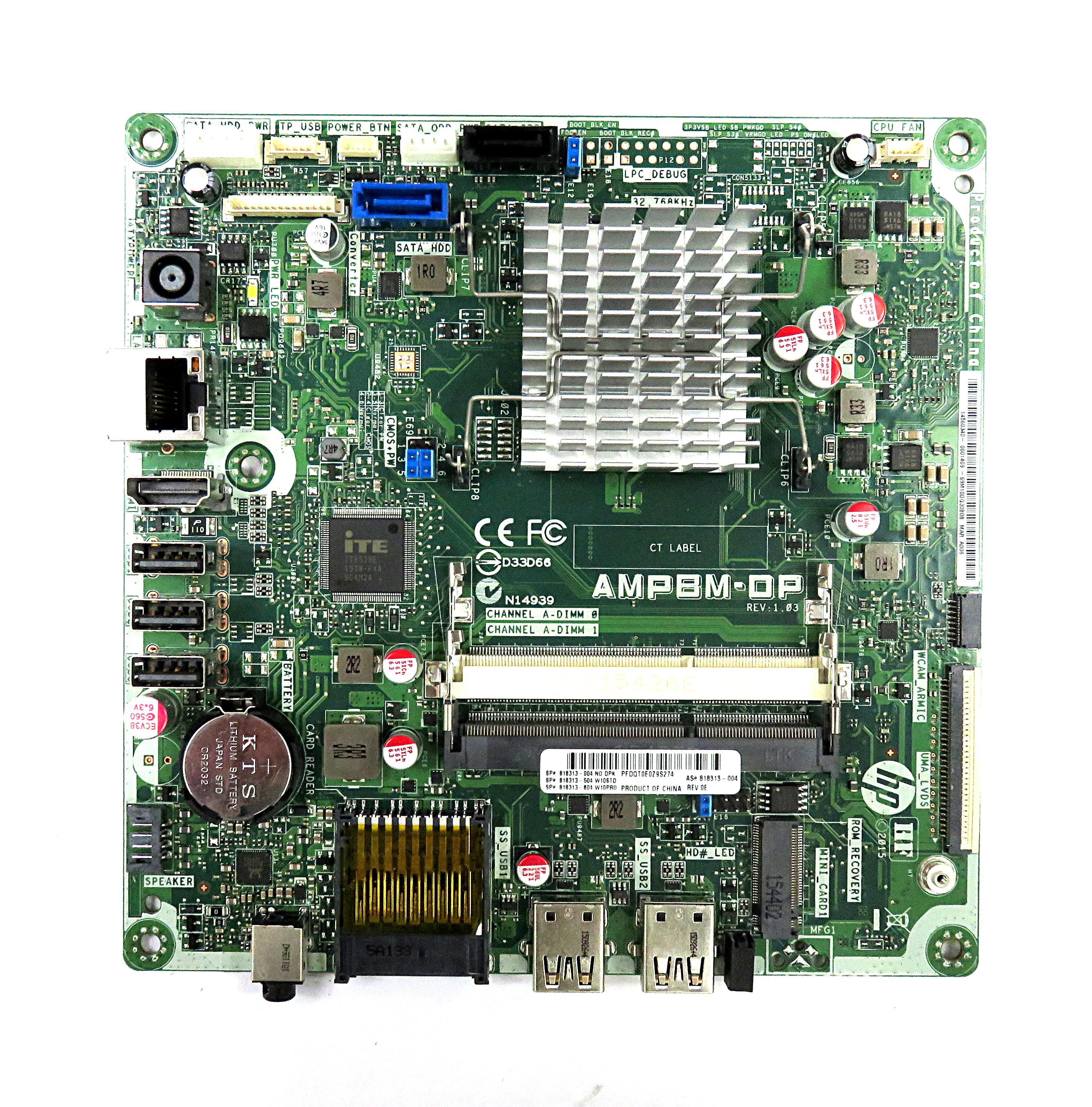 HP 818313-004 M/board AMPBM-DP REV:1.03 f/ 22-3160na AiO PC w/ AMD A6-6310 CPU