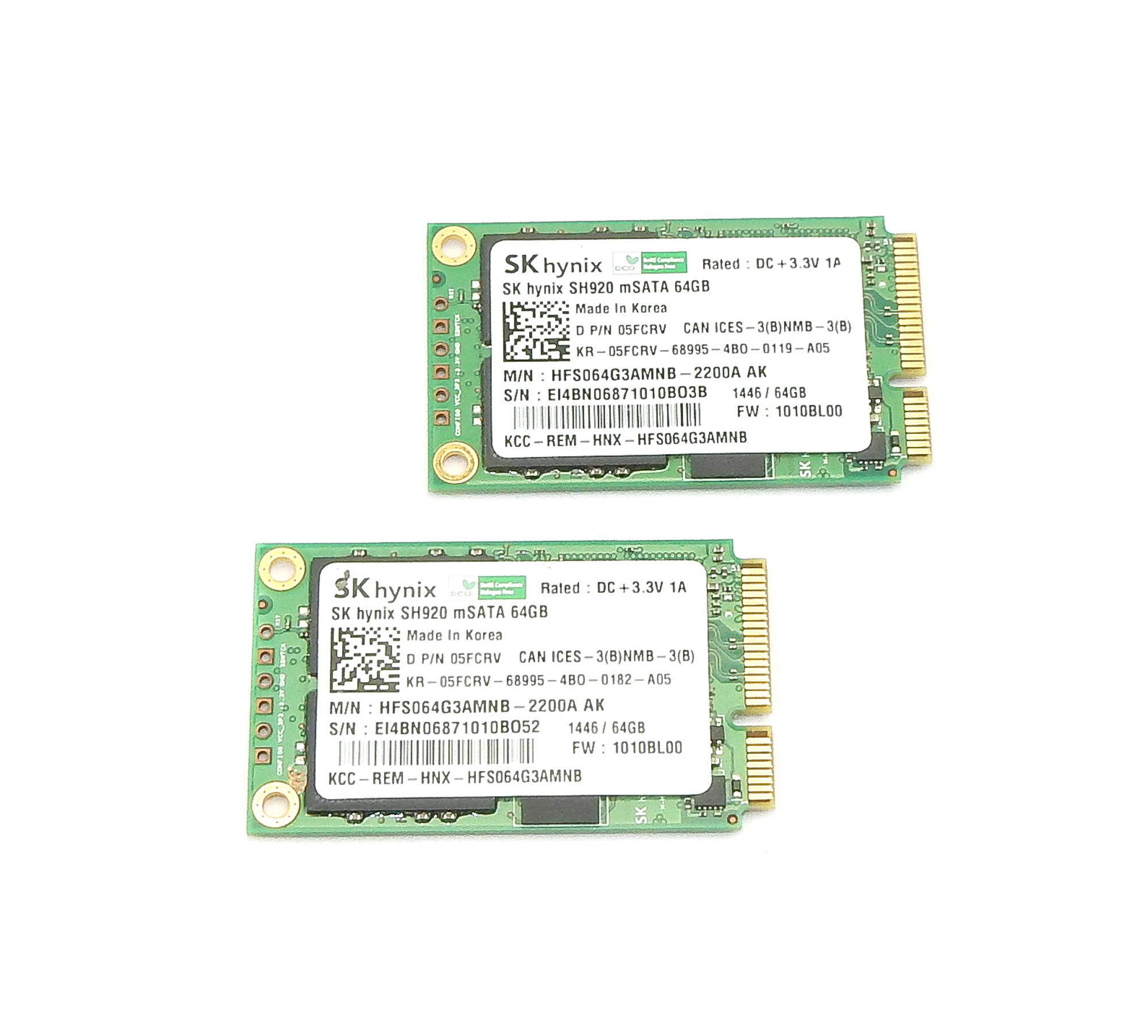 2x Dell 5FCRV SK hynix 64GB mSATA SSD HFS064G3AMNB-2200A