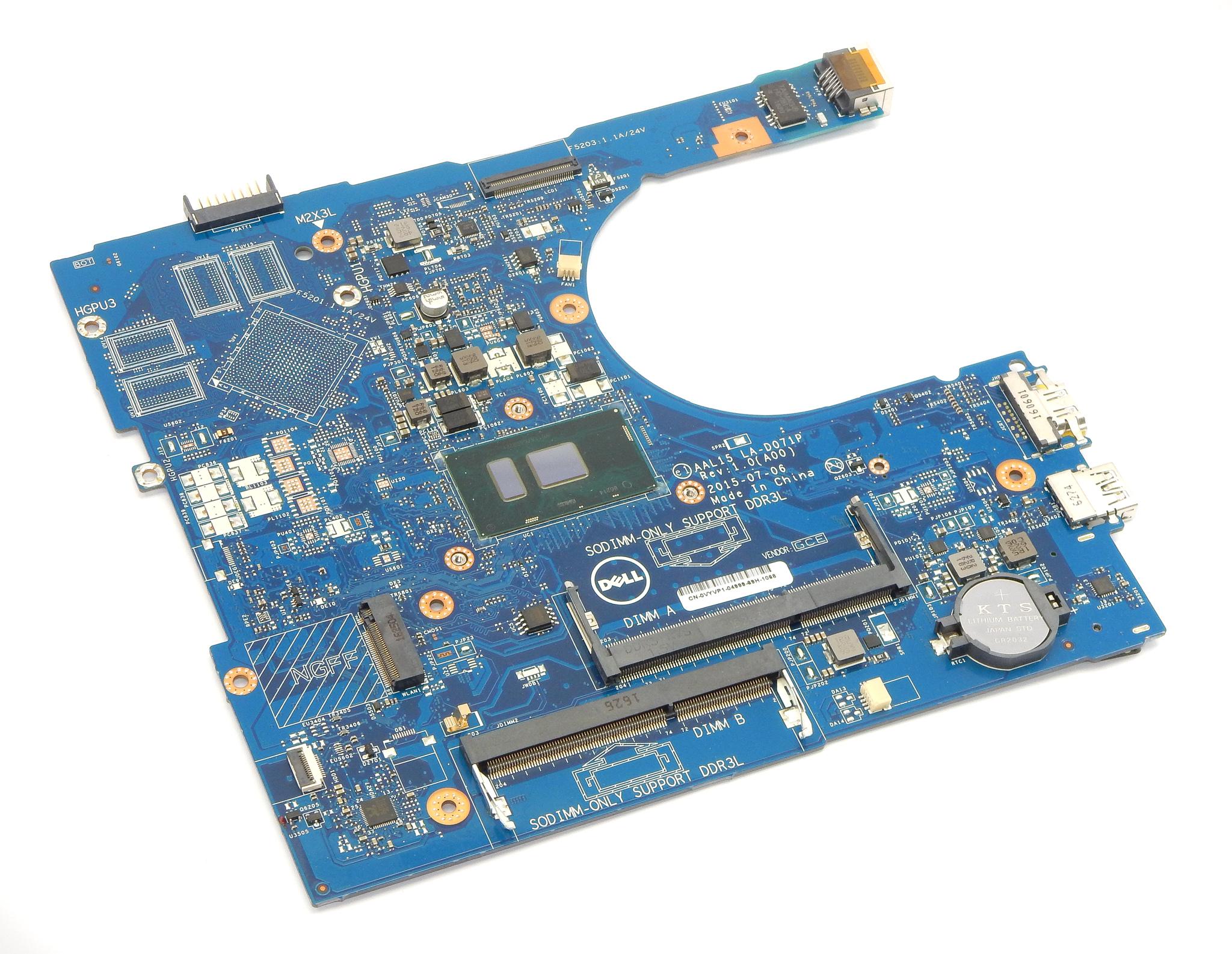 Dell VYVP1 Inspiron I5-5559 Laptop Motherboard w/ Intel i5-6200U CPU LA-D071P