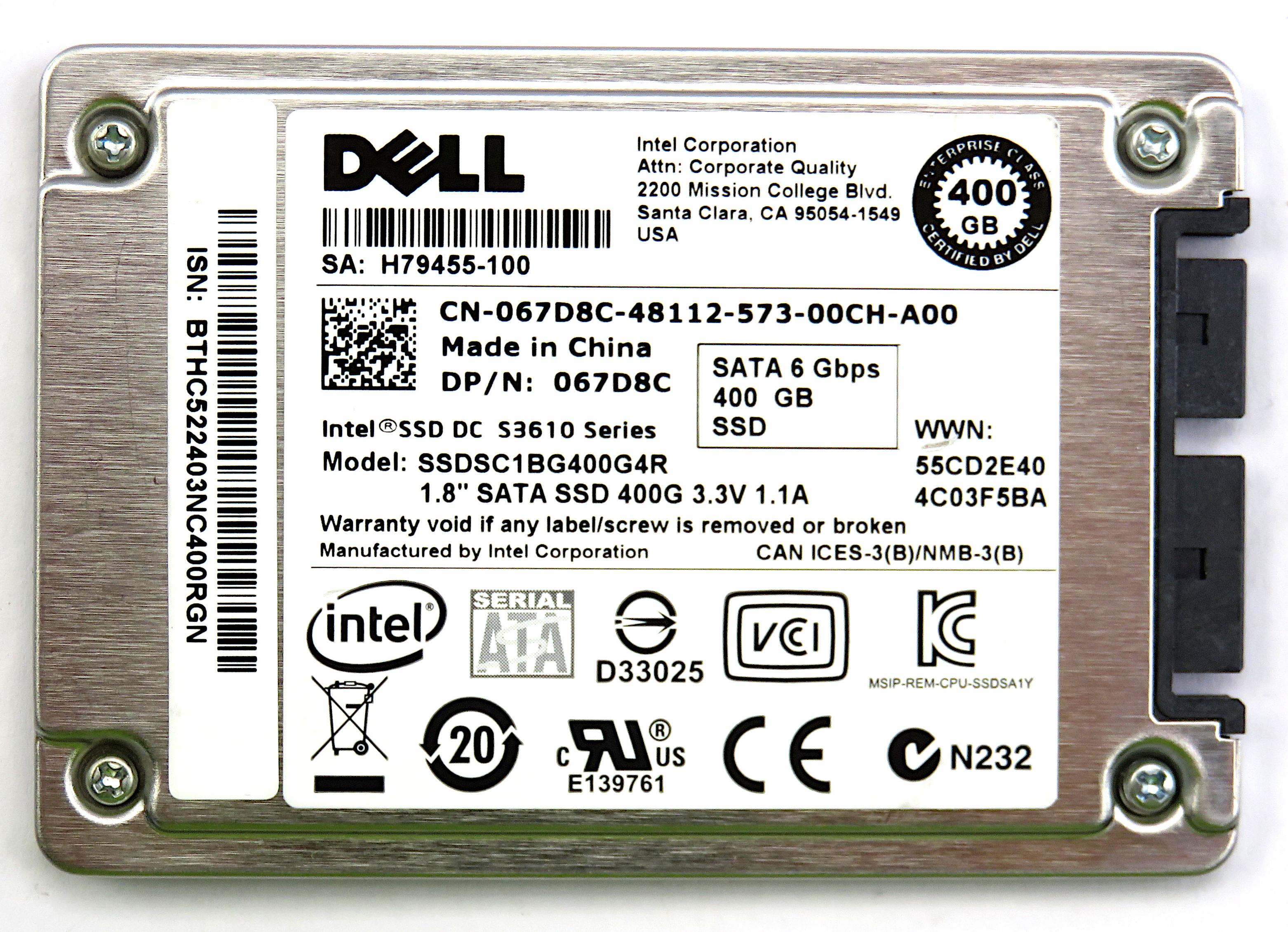 """Dell 067D8C Intel SSDSC1BG400G4R 400GB 1.8"""" uSATA 6Gbps S3610 Series SSD"""