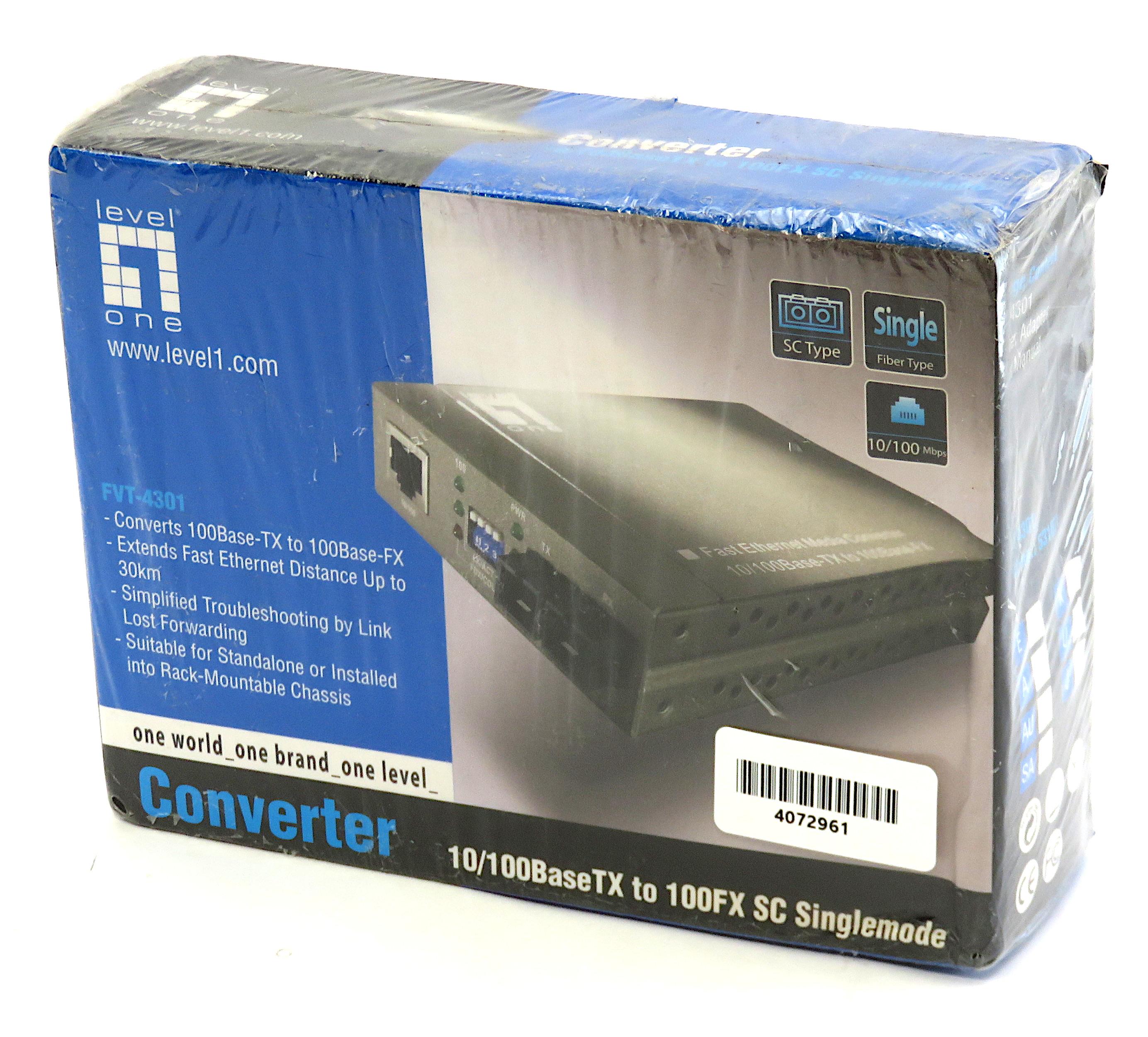 LevelOne FVT-4002 10/100BaseTX to 100FX ST Multimode Converter
