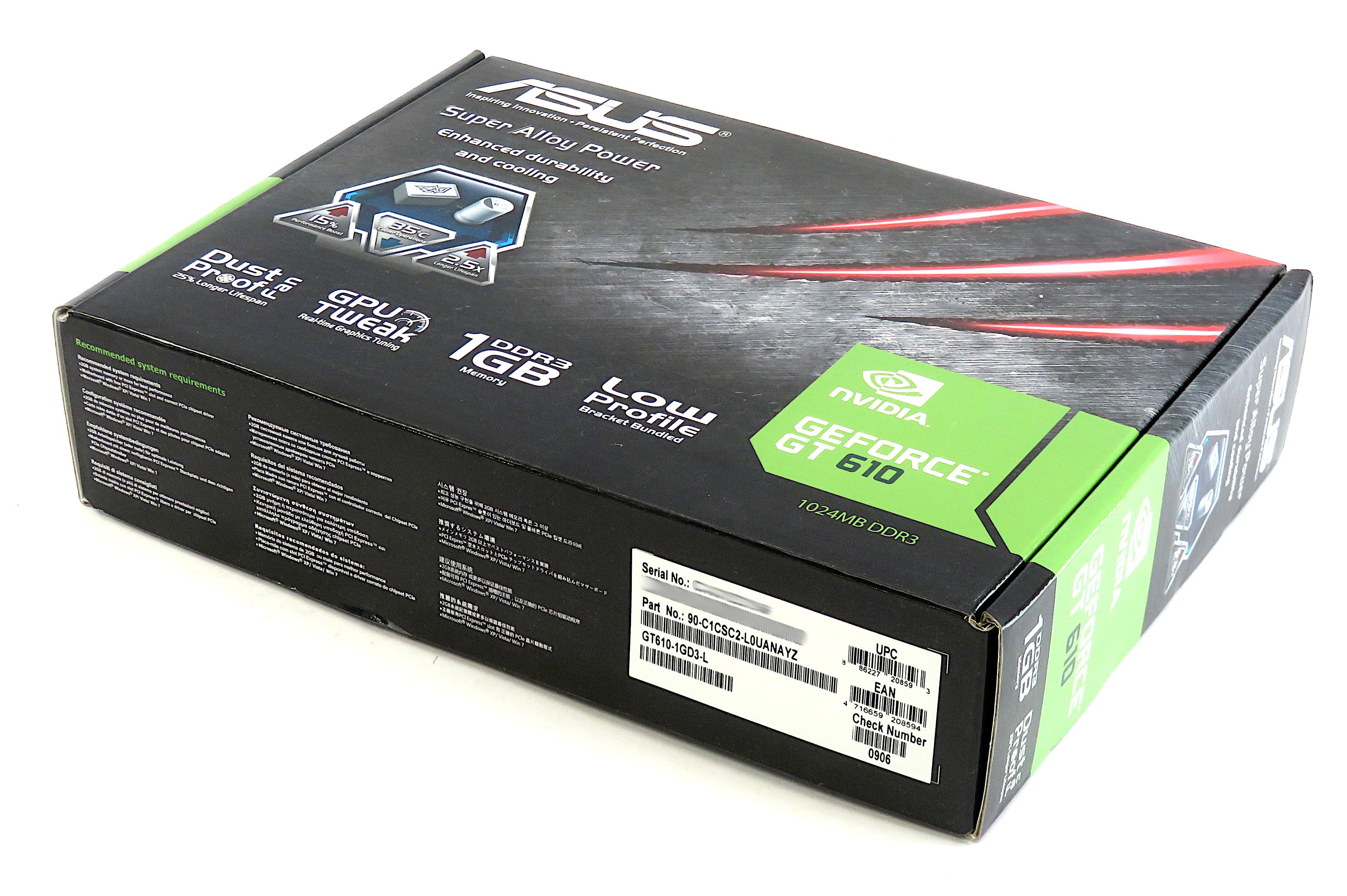 Asus Nvidia GeForce GT610 1GB DDR3 Graphics Card GT610-1GD3-L