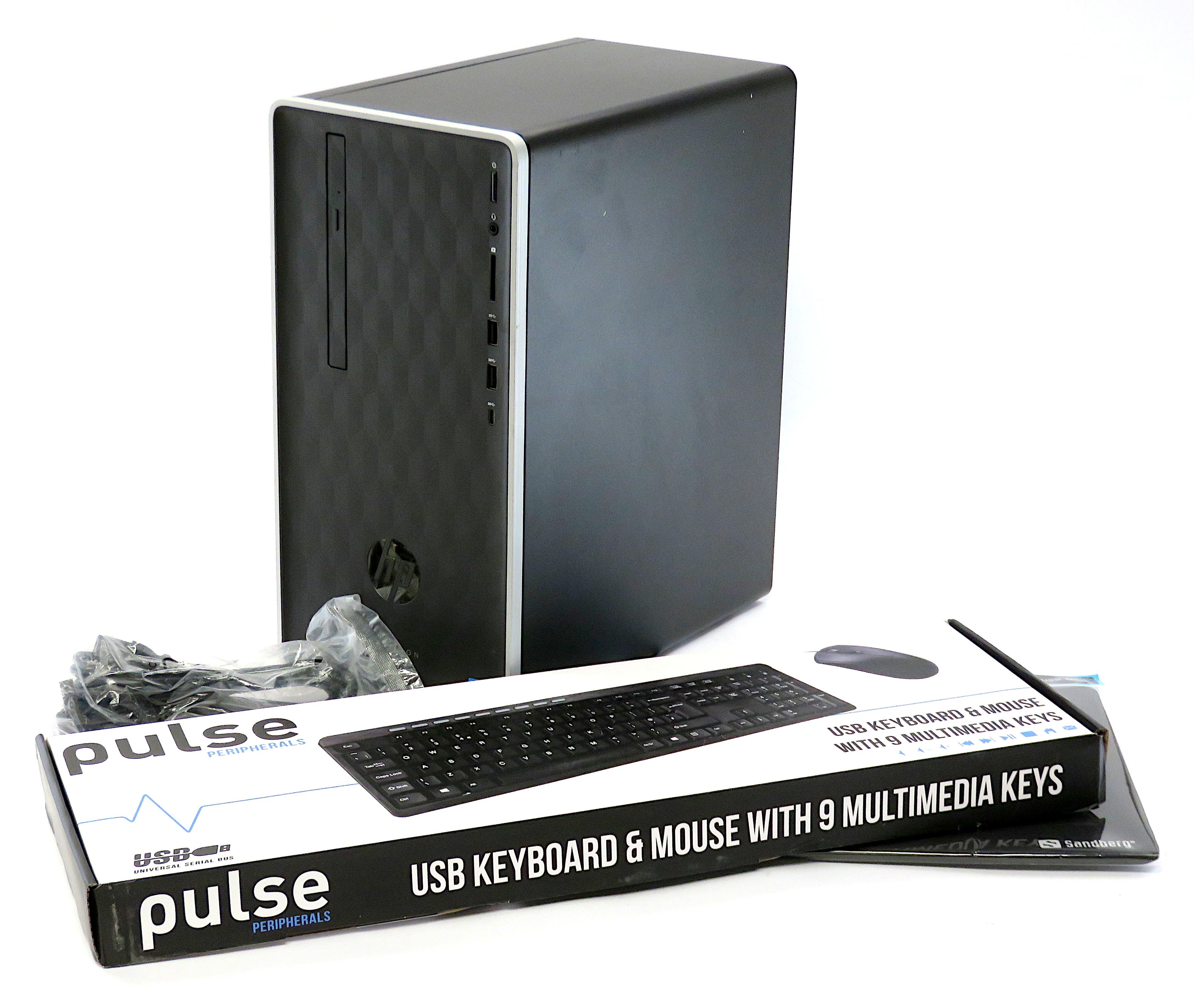 HP Pavilion Desktop 590-p0060na:i3-9100 8GB DDR4 128GB SSD 1TB HDD Win10 Home