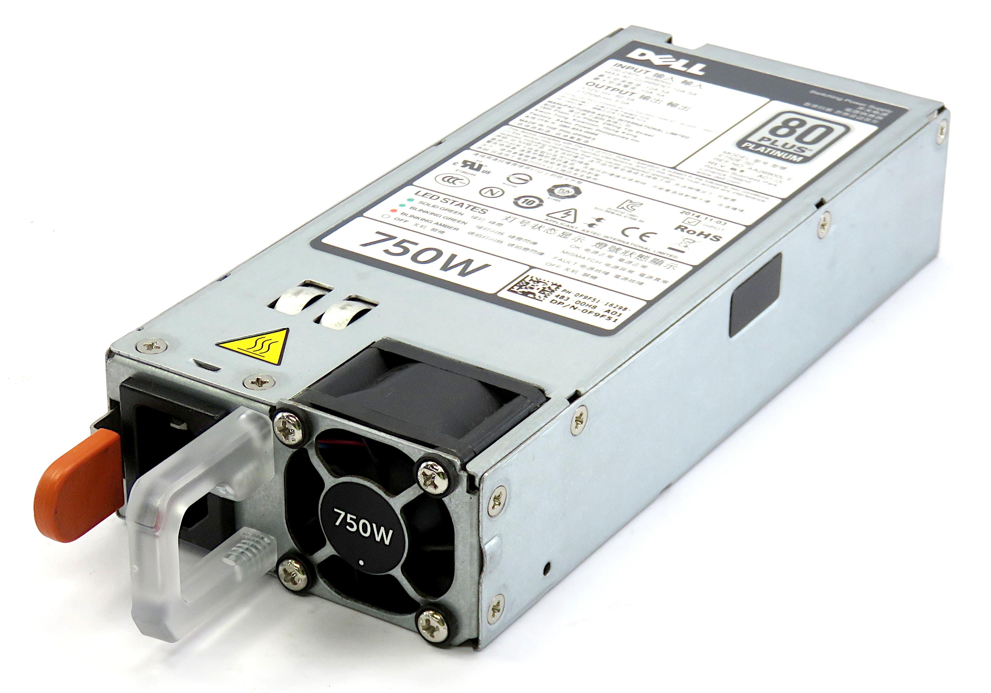 Dell 0F9F51 750W 80+ Platinum Redundant Power Supply E750E-S0 f/ PowerEdge T320