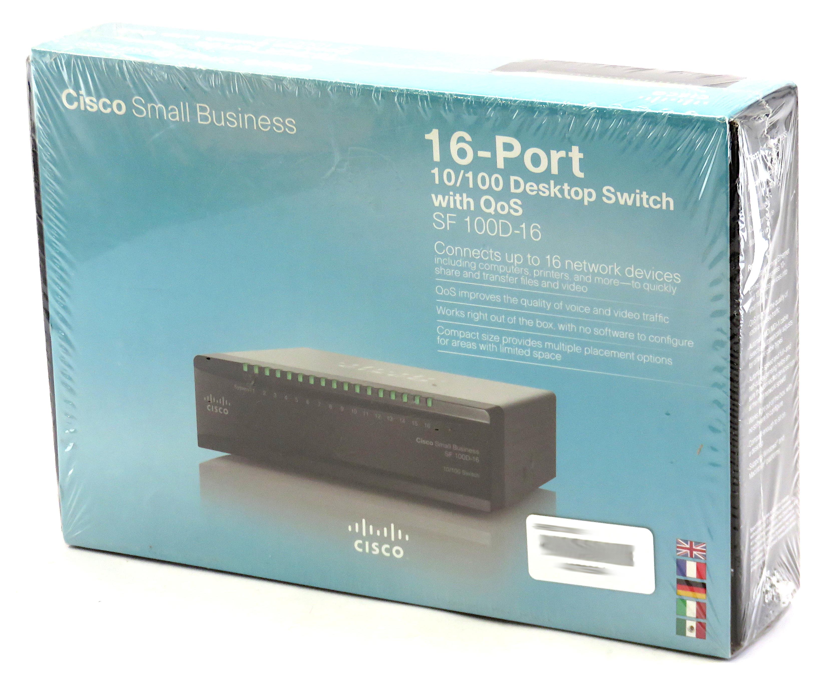 Cisco SF 100D-16 16-Port 10/100 Ethernet Desktop Switch w/ QoS SD216T-UK