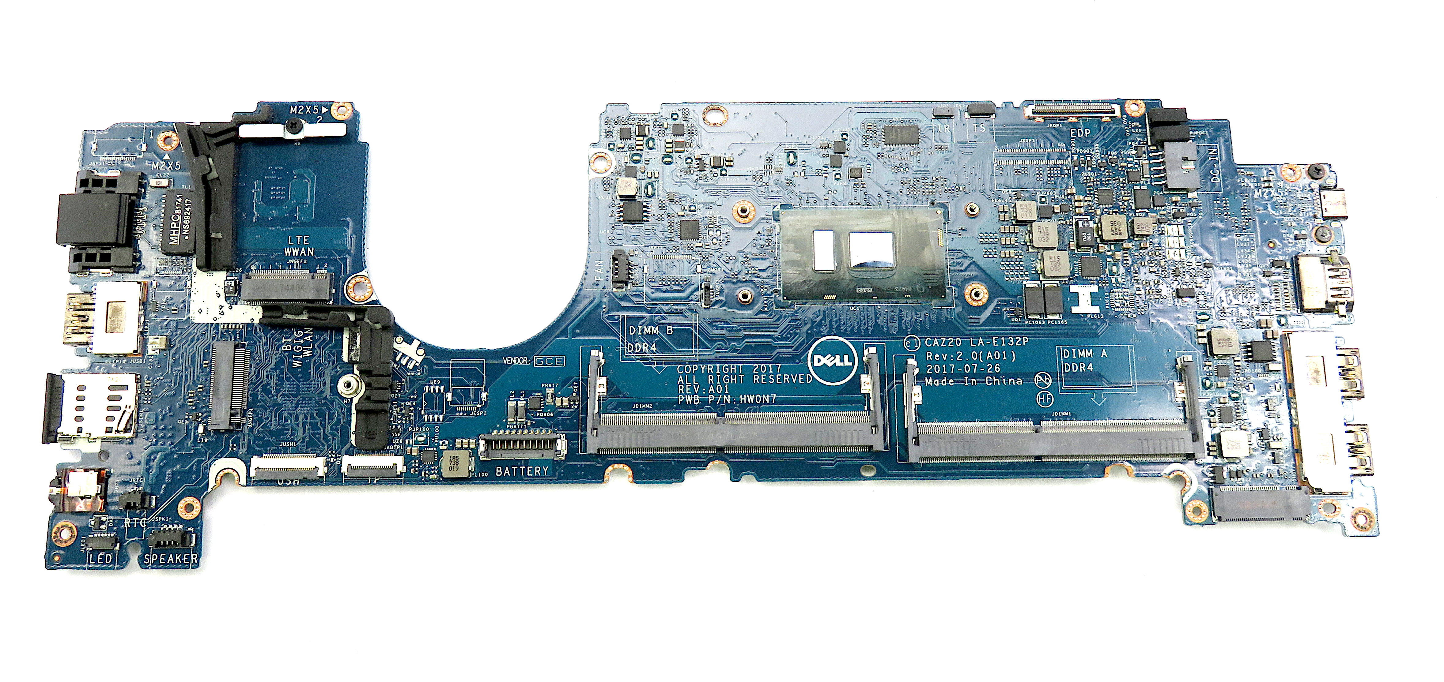Dell MWGPY Latitude 7480 with Intel Core i5-7300U 2.6Ghz Laptop Motherboard