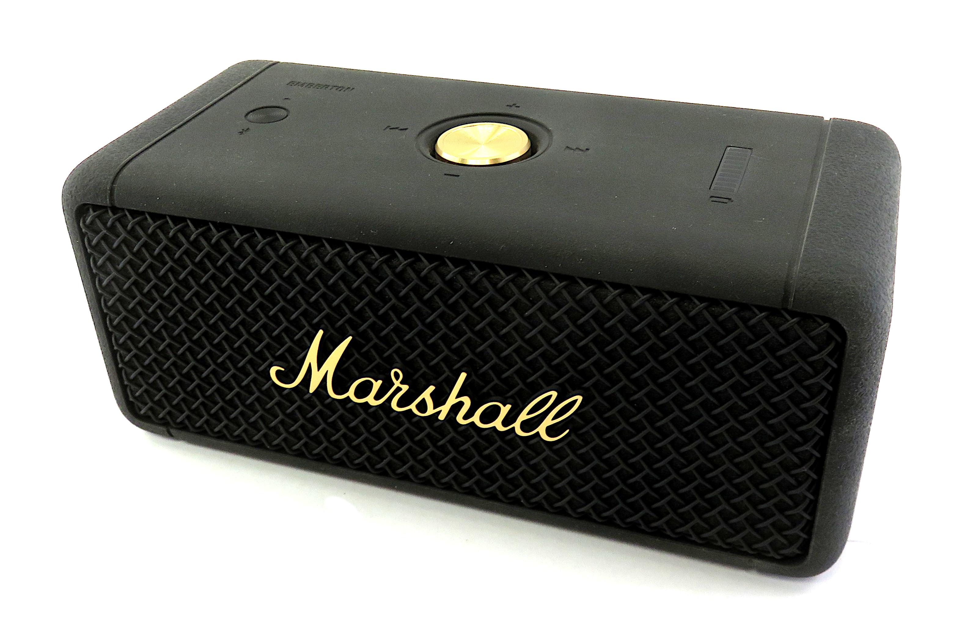 Marshall Emberton Rugged Portable Bluetooth Speaker: Black & Brass, Boxed