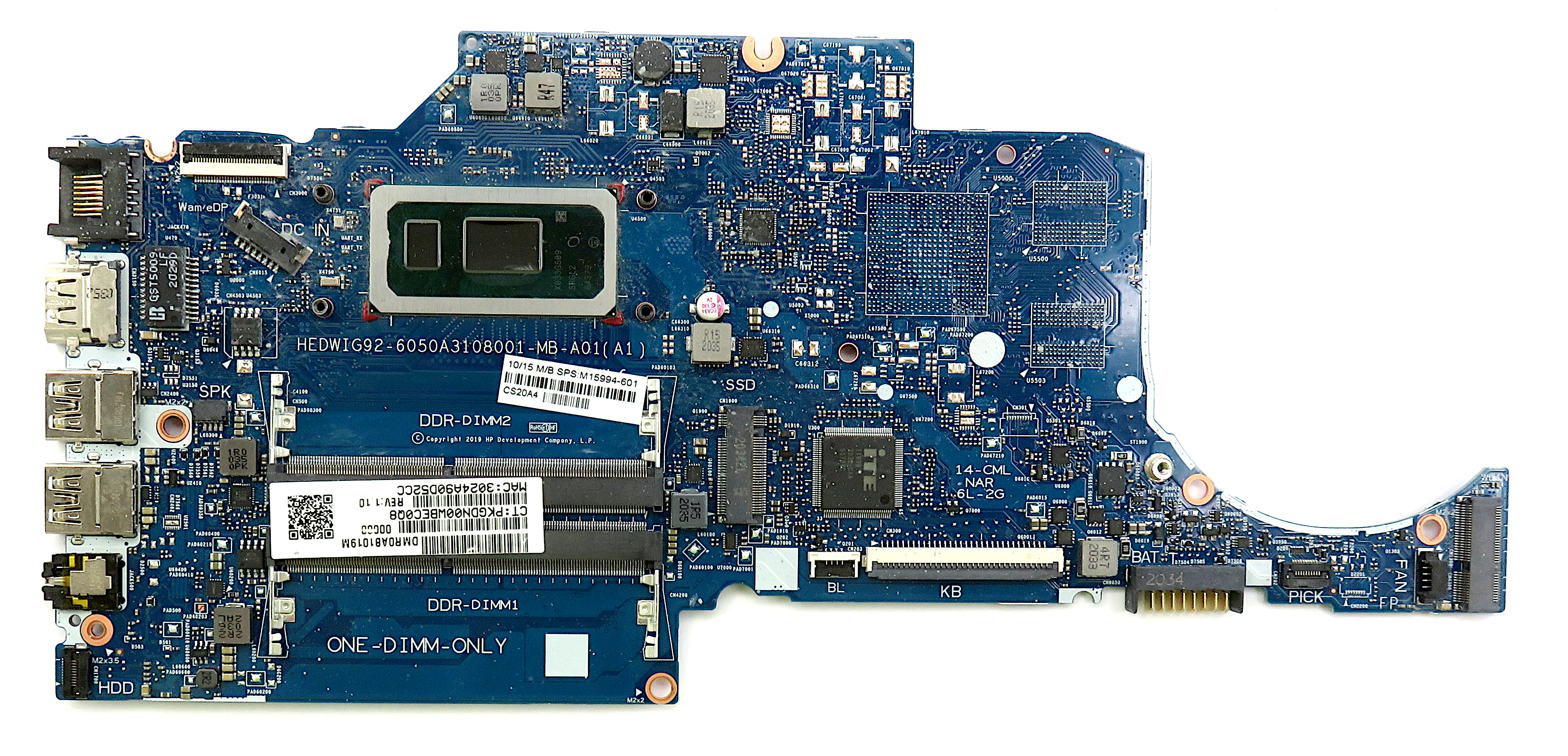 HP M15994-601 Motherboard f/ HP 14-cf2507sa w/ Pentium Gold 6405U CPU