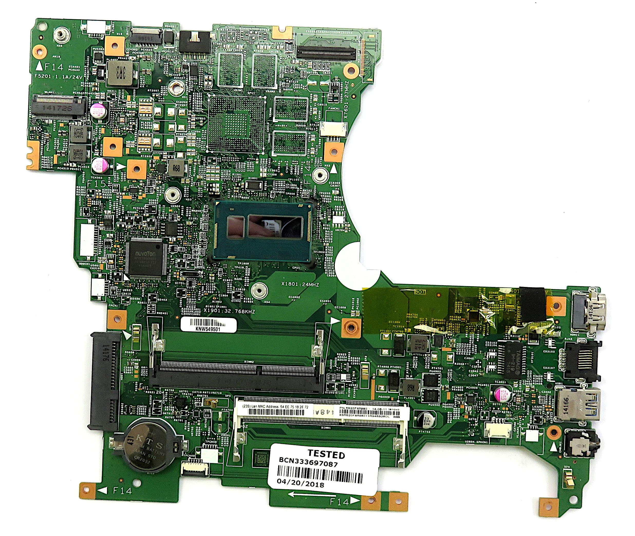 Lenovo 5B20F85980 Motherboard f/ Flex 2-14 Dual-Mode Laptop w/ i3-4010U