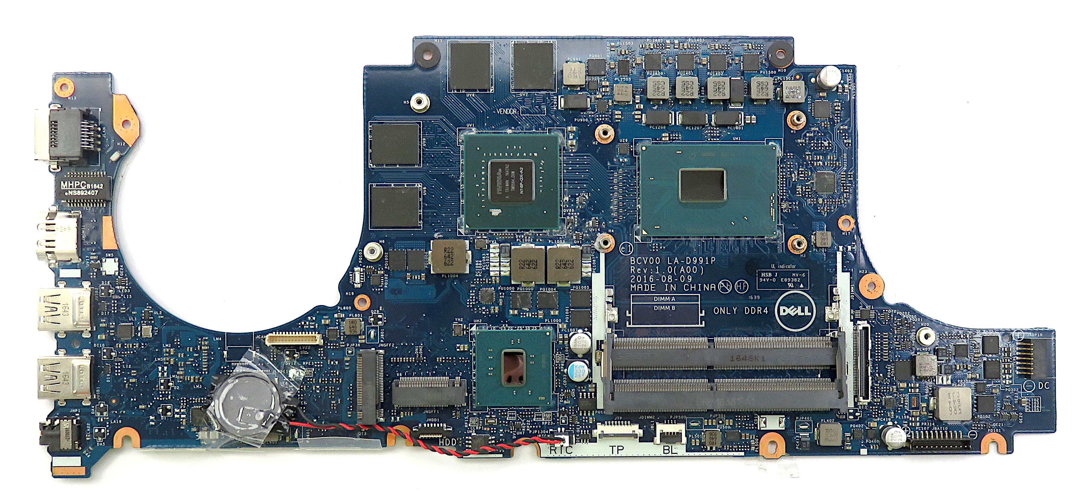 Dell 077V33 Motherboard f/ Inspiron 15 Gaming 7566 w/ i7-6700HQ & GTX 960M 4GB