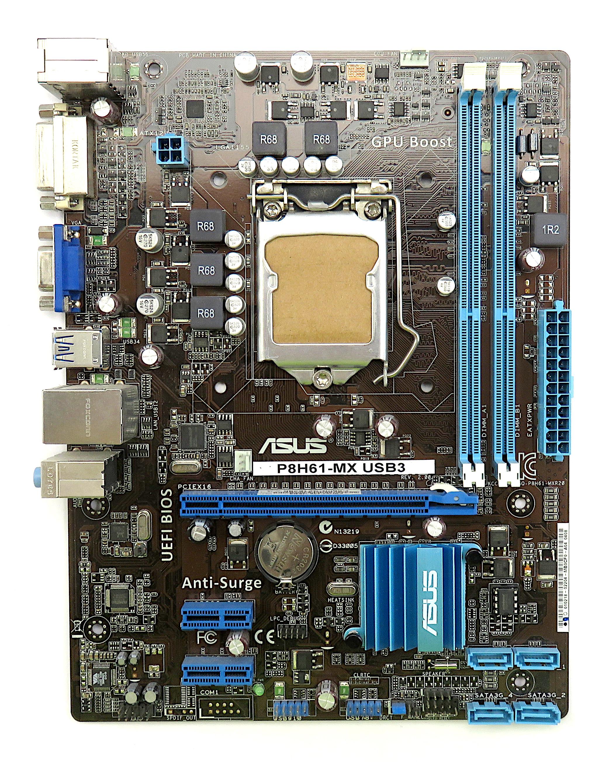 Asus P8H61-MX USB3 Intel Socket 1155 2nd/3rd Gen. mATX Motherboard
