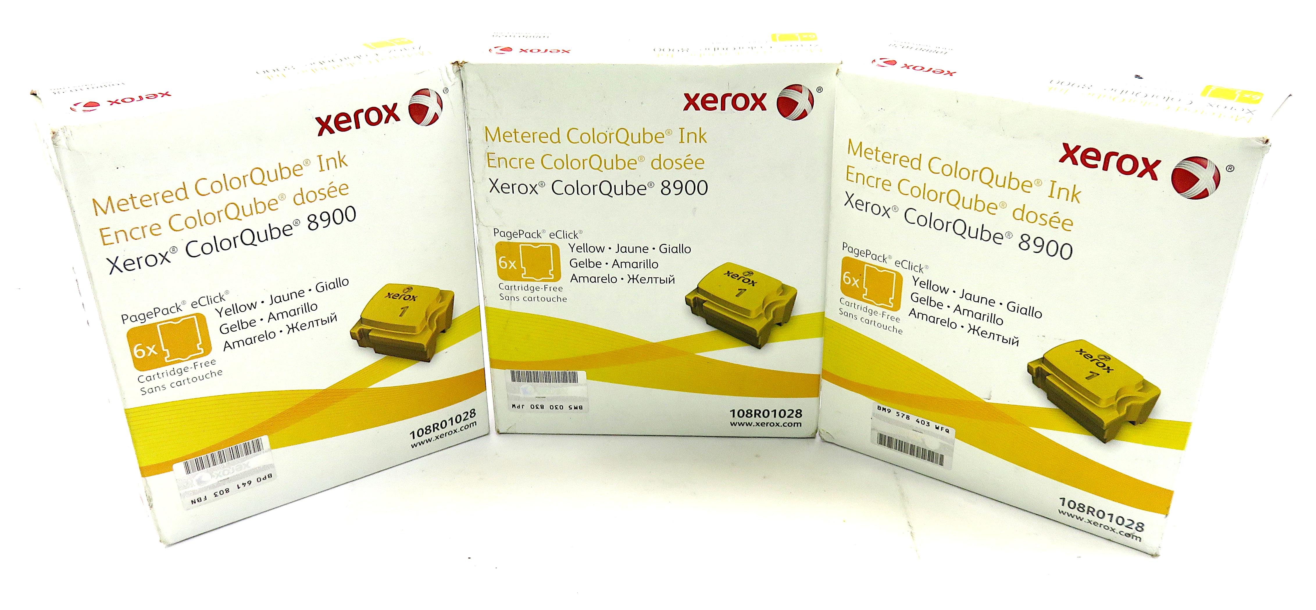 Xerox Colorqube 8900 Printer Ink - 3 Pack: Yellow - 108R01028