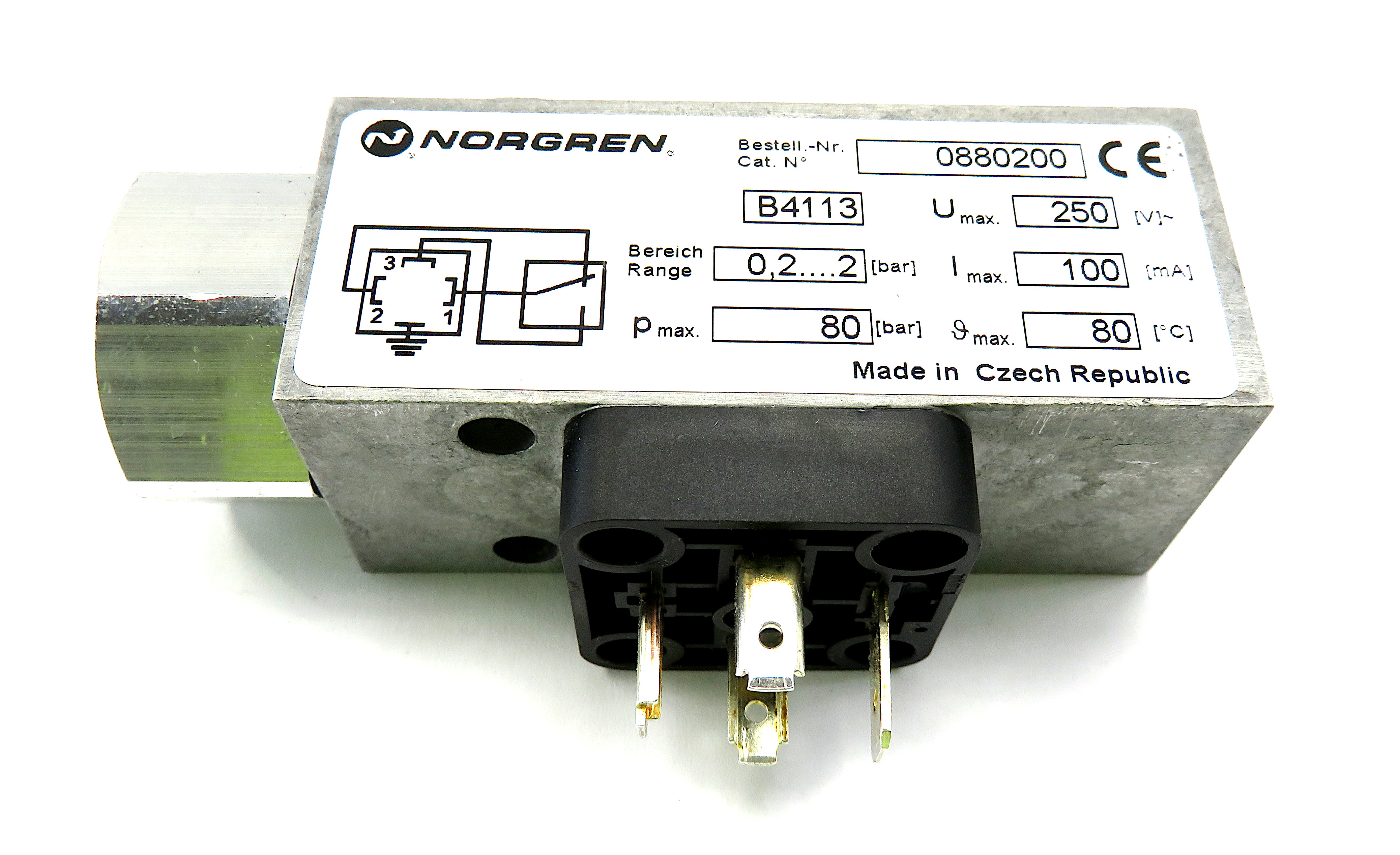 Norgren Pneumatic Pressure Switch - Connection G 1/4 - 0.2bar to 2 bar - 0880200