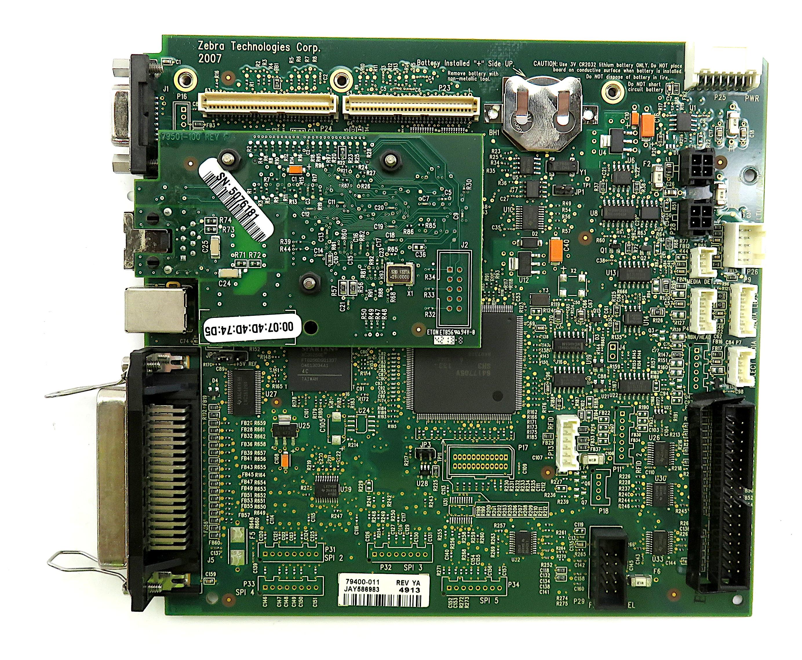 Zebra 79400-011 Mainboard f/ ZM400 Label Printer w/ Eton ET856 Ethernet board