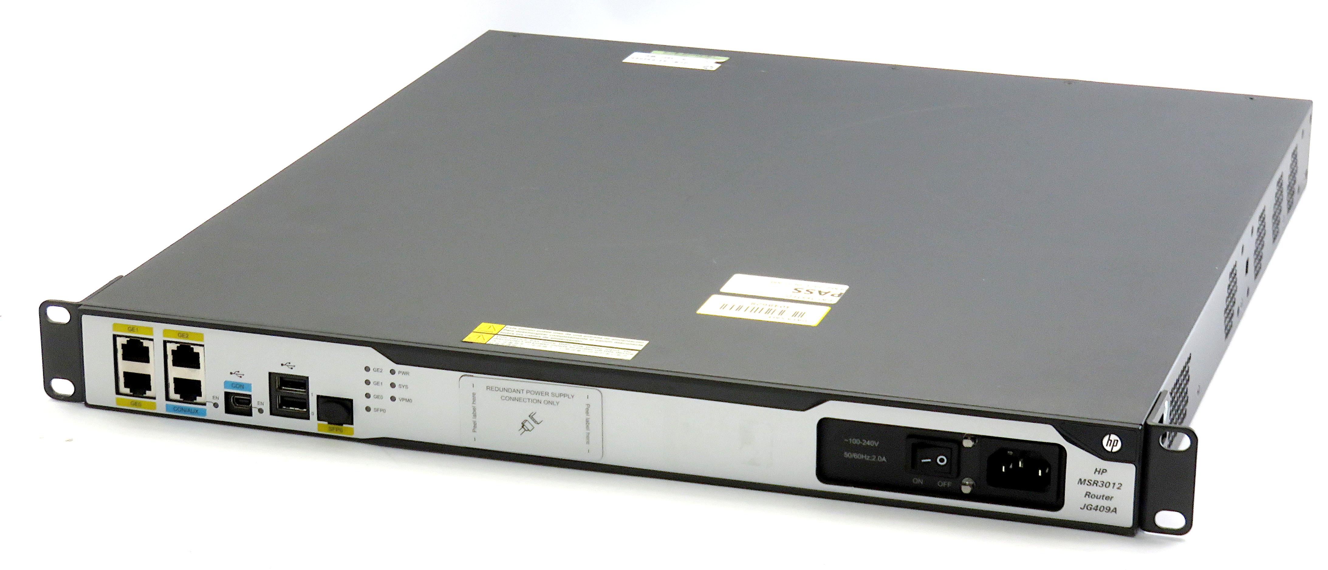 HP MSR3012 FlexNetwork MSR3012 AC Modular FlexBranch Architechture Router JG409A