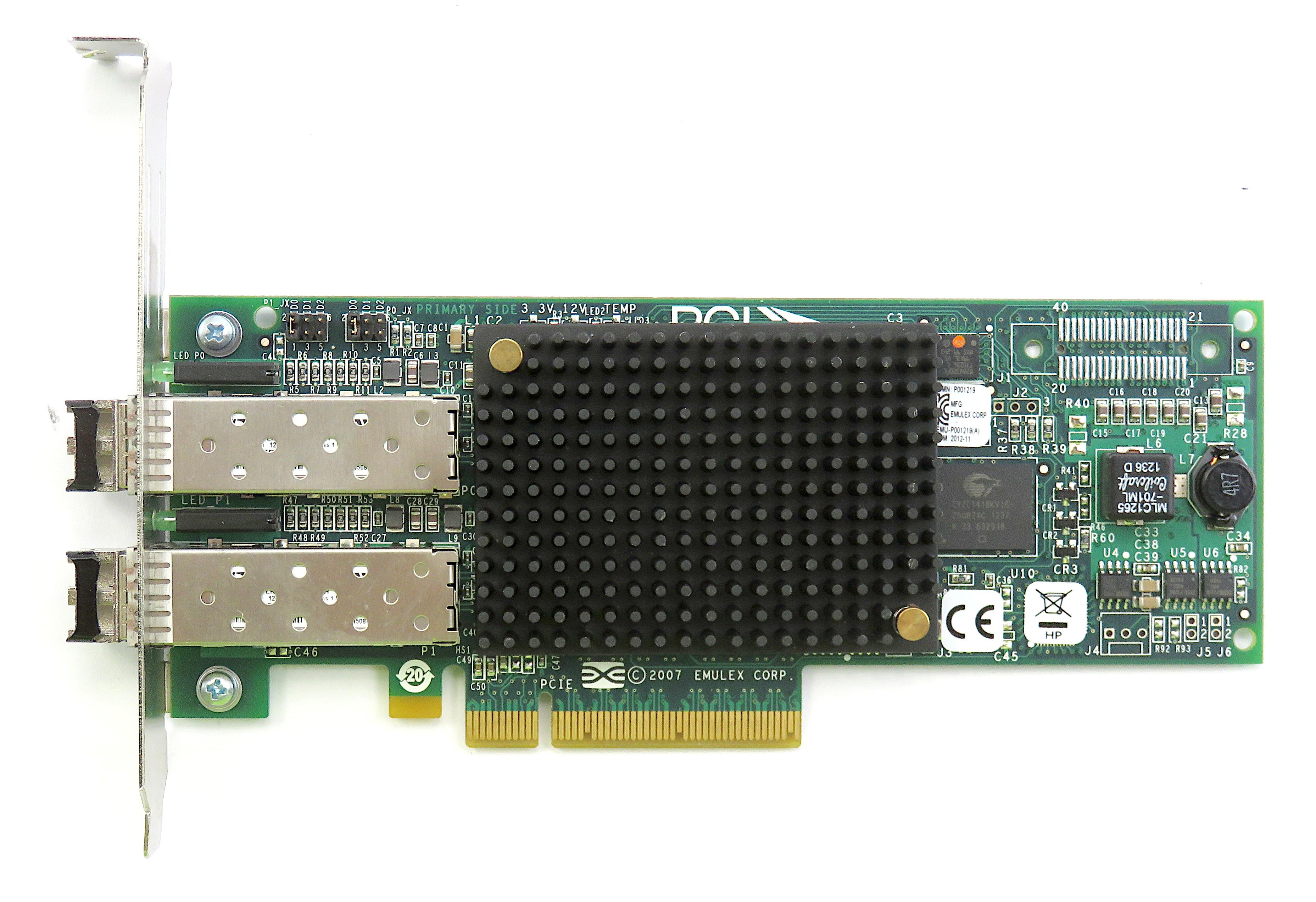 HP AJ763-63003 Emulex LPE12002 8Gb Dual-Port HBA with 2x AJ718A Transceivers