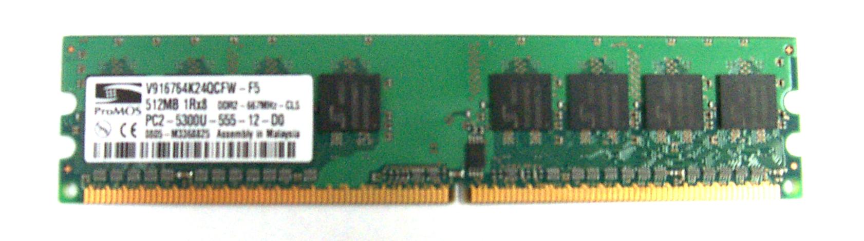 ProMOS V916764K24QCFW-F5 512 MB DDR2 Desktop Memory