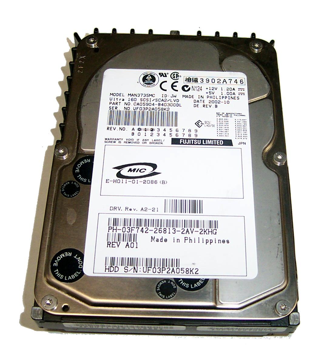 "FUJITSU MAN3735MC 73GB 3.5/"" 10K RPM SCSI Hard Drive"