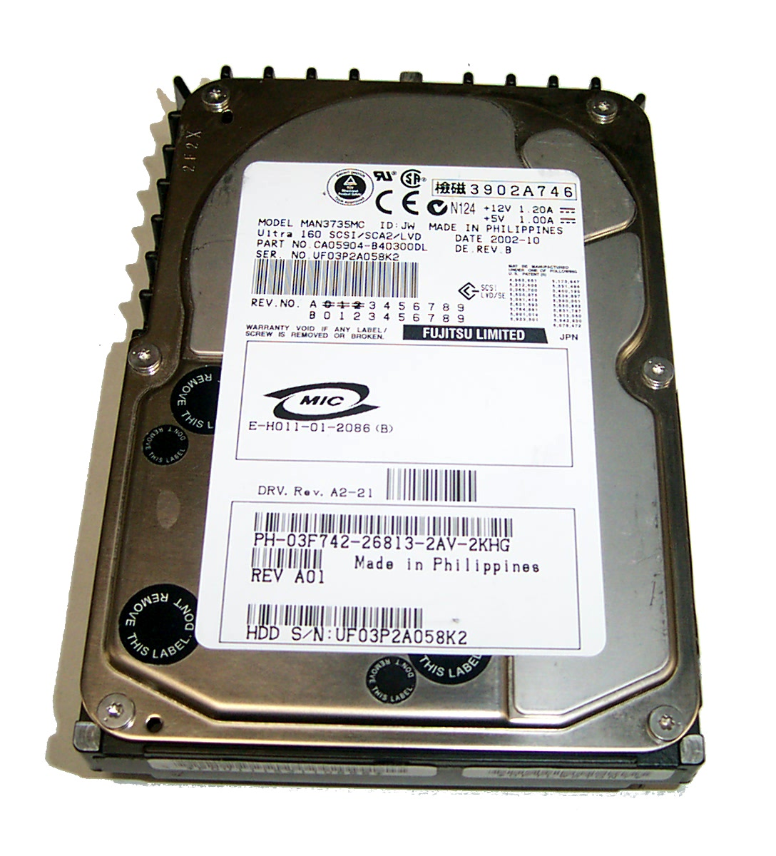 "Dell 3F742 73GB 10K Ultra 160 SCSI/SCA2 3.5"" Hard Disk Drive- Fujitsu MAN3735MC"