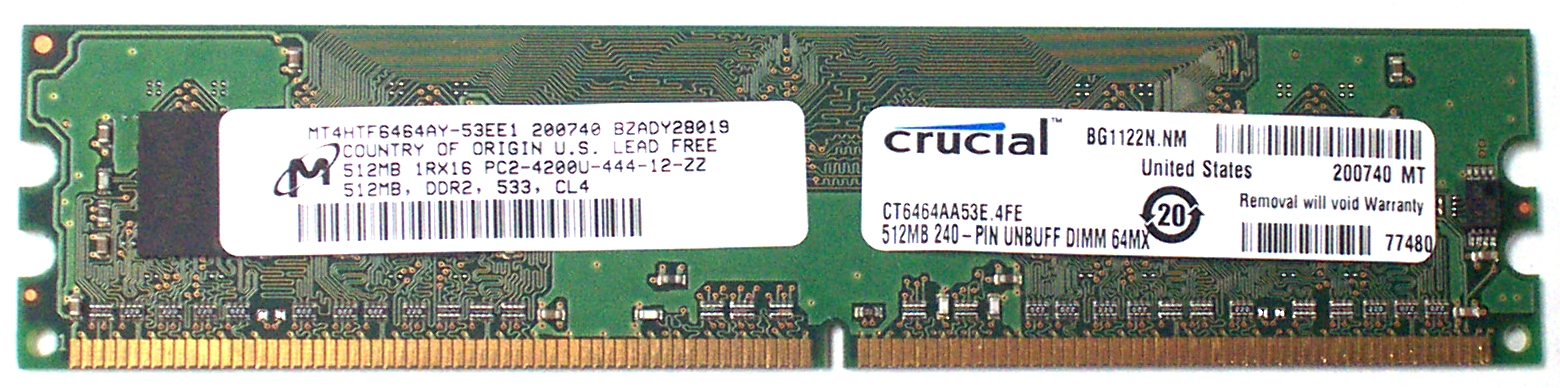 Micron MT4HTF6464AY-53EE1 512MB DDR2 PC2-4200U CL4
