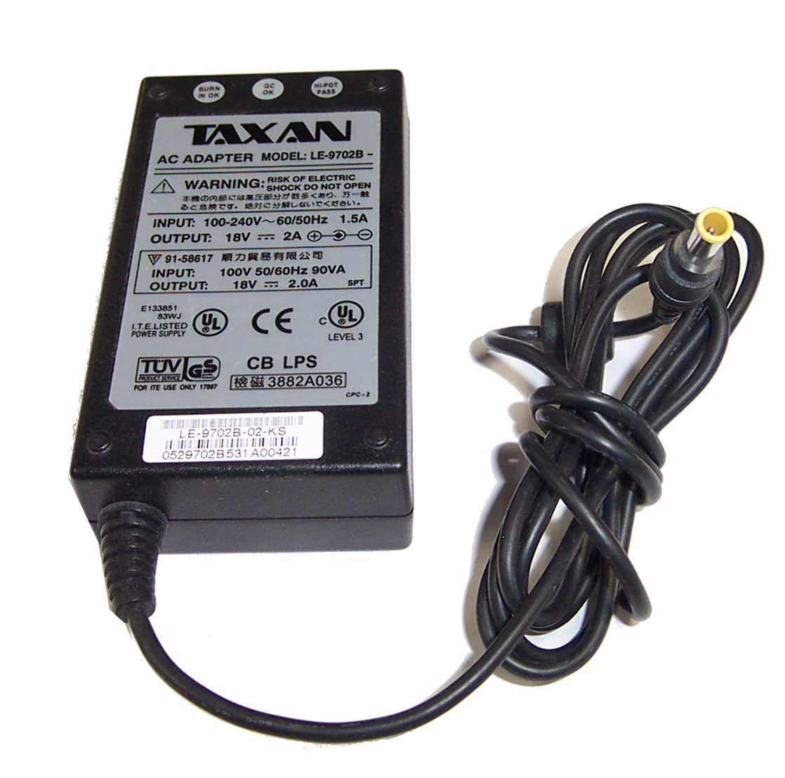 Taxan LE-9702B-02-KS 18V 2A AC Adapter- 7.5mm Barrel Connector