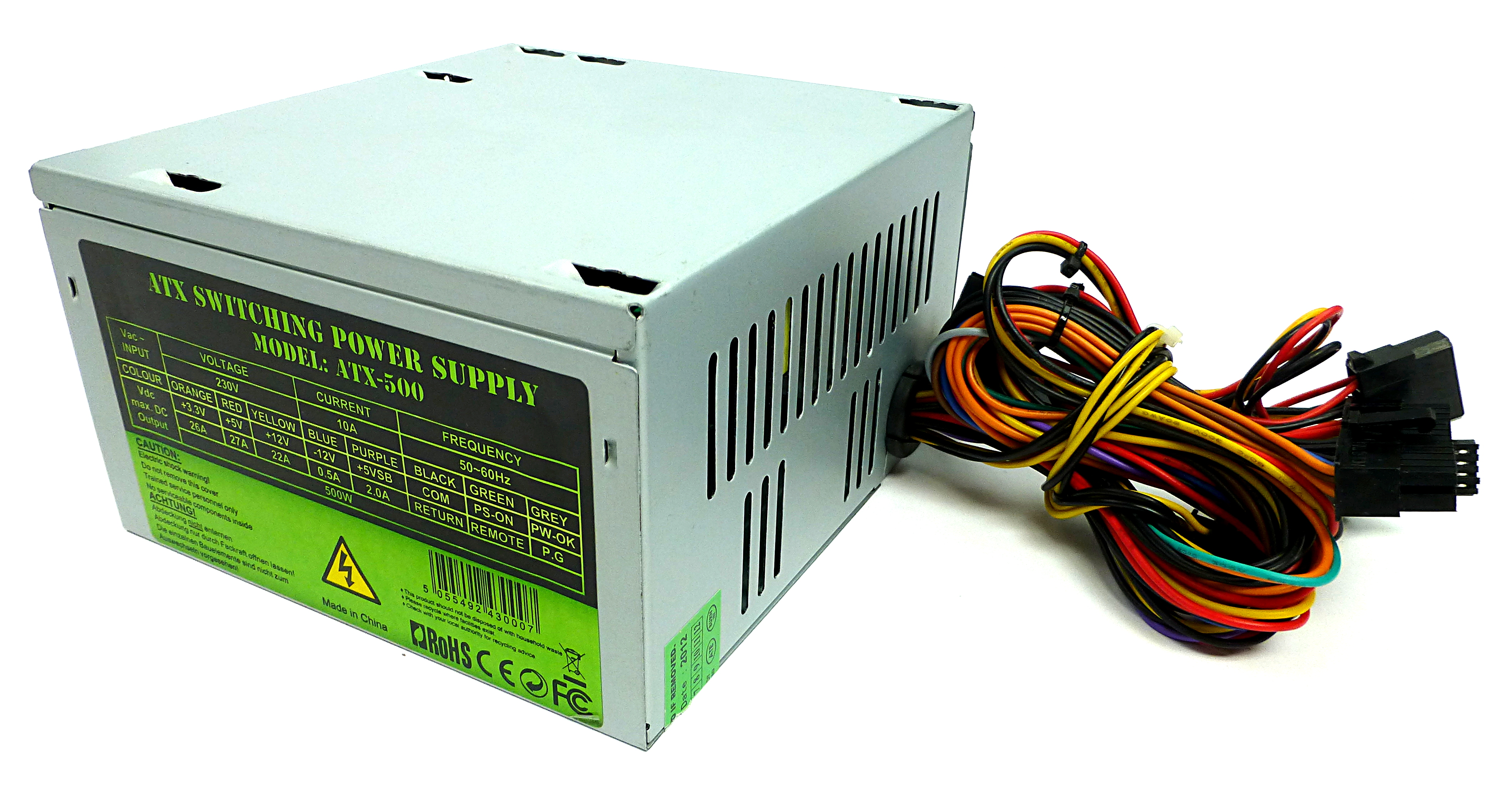 atx 500 500w 20 24pin atx power supply ebay rh ebay co uk