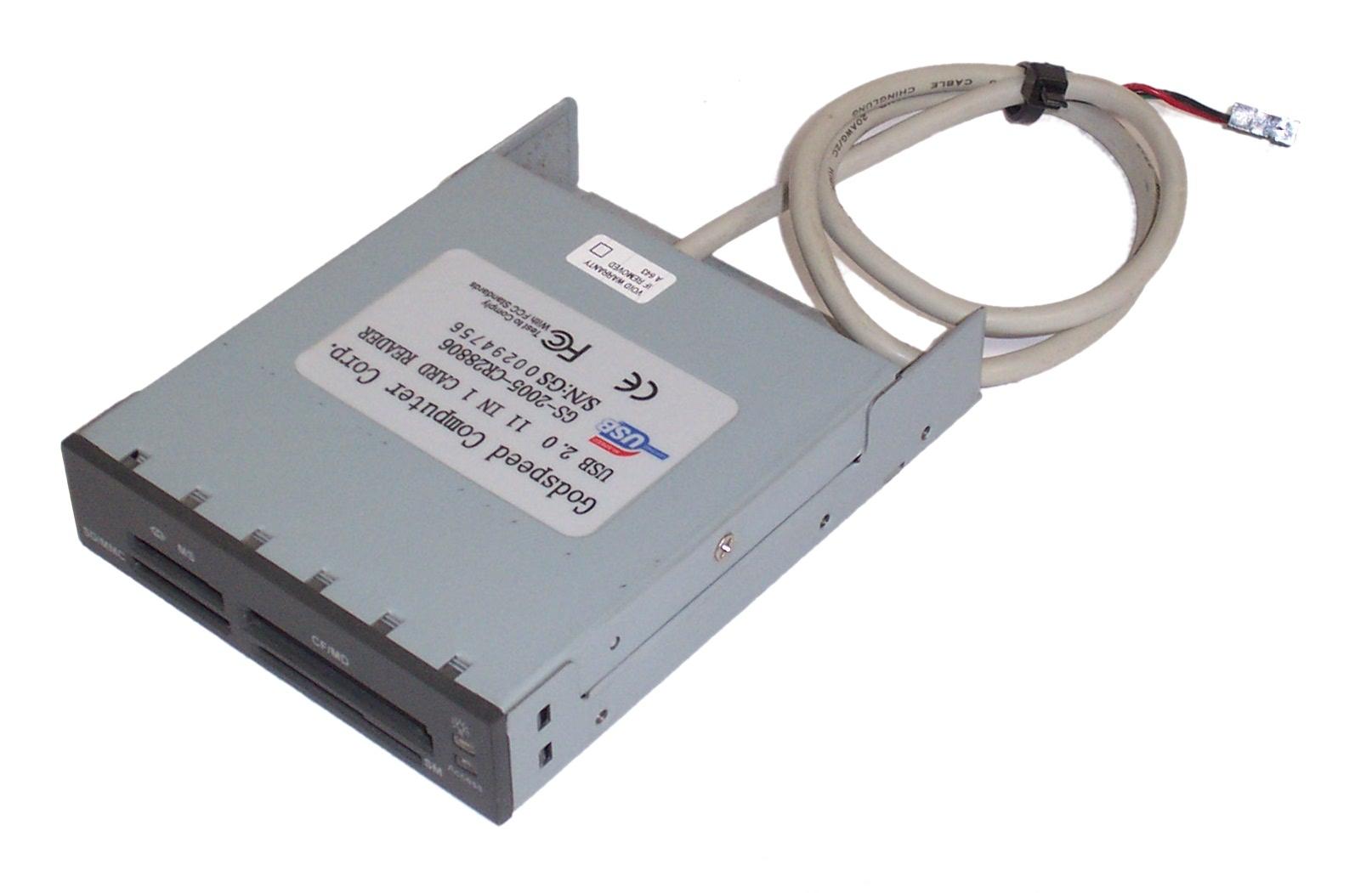 """Godspeed GS-2005-CR28806 11-in-1 3.5"""" Black USB Card Reader"""