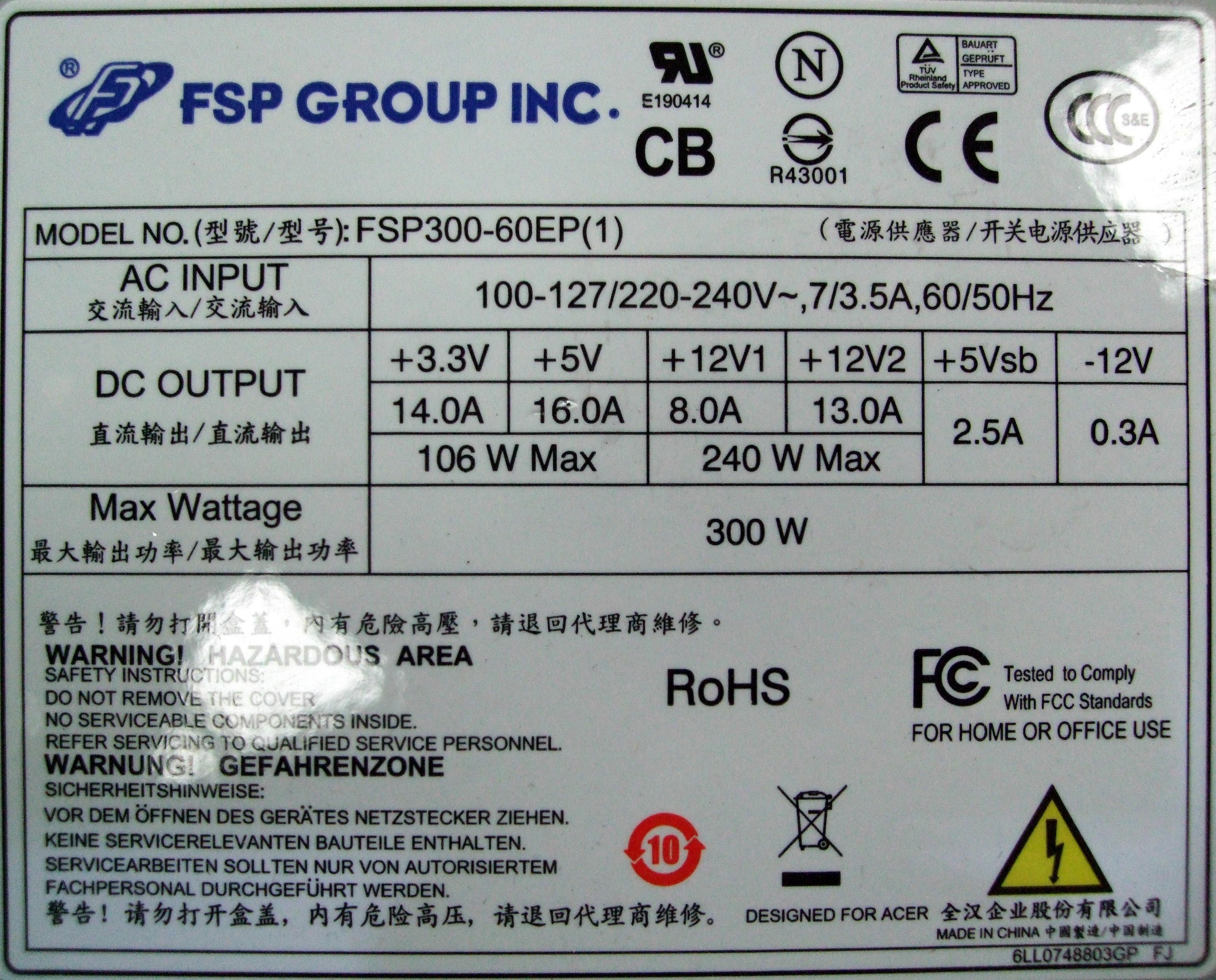 Dettagli su Fsp300-60ep (1) FSP GROUP 300W 24 pin ATX Power Supply- mostra il titolo originale