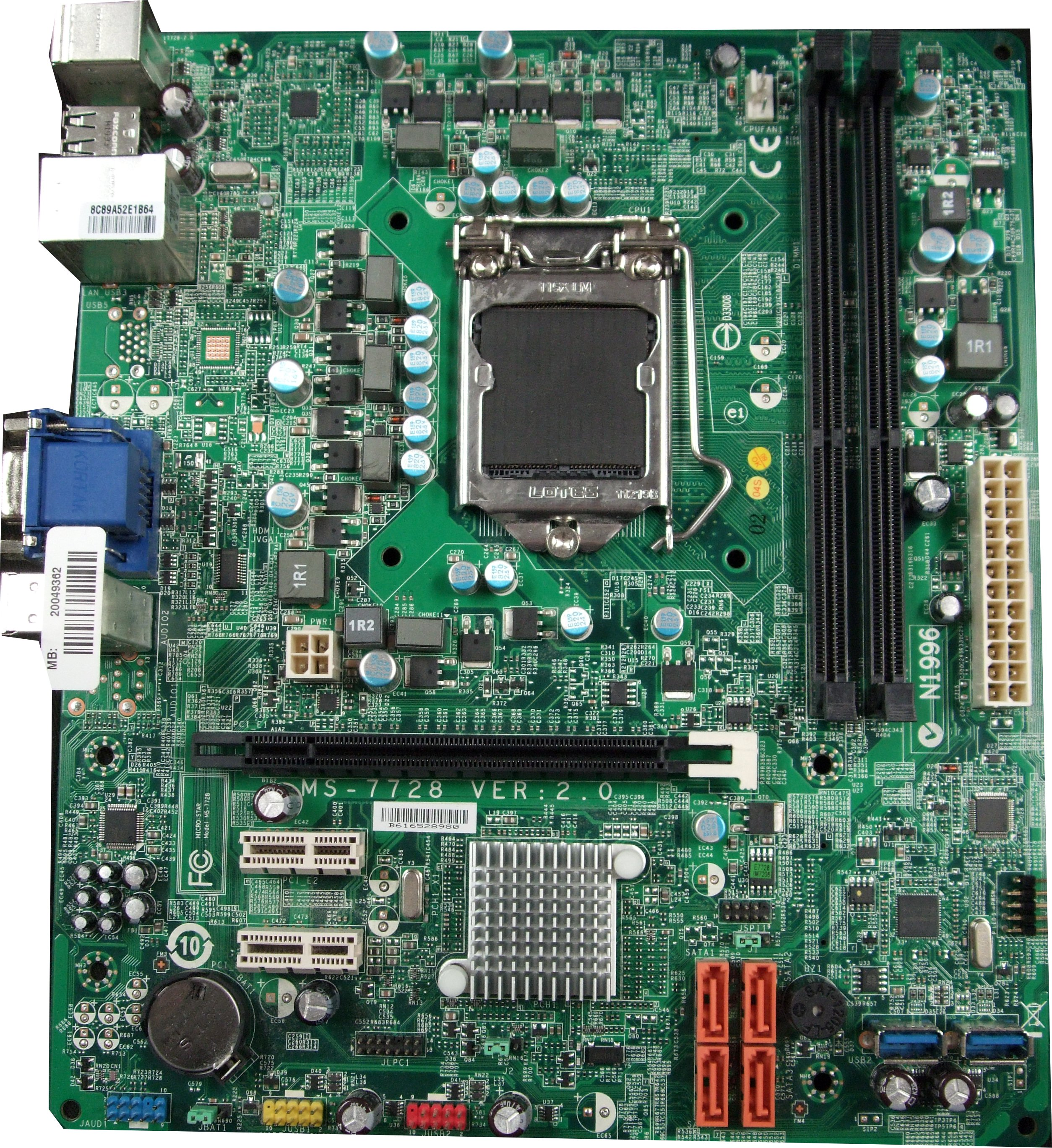 MS-7728 MSI LGA1155 Sandybridge Motherboard (/w VGA Socket) - Advent Branded