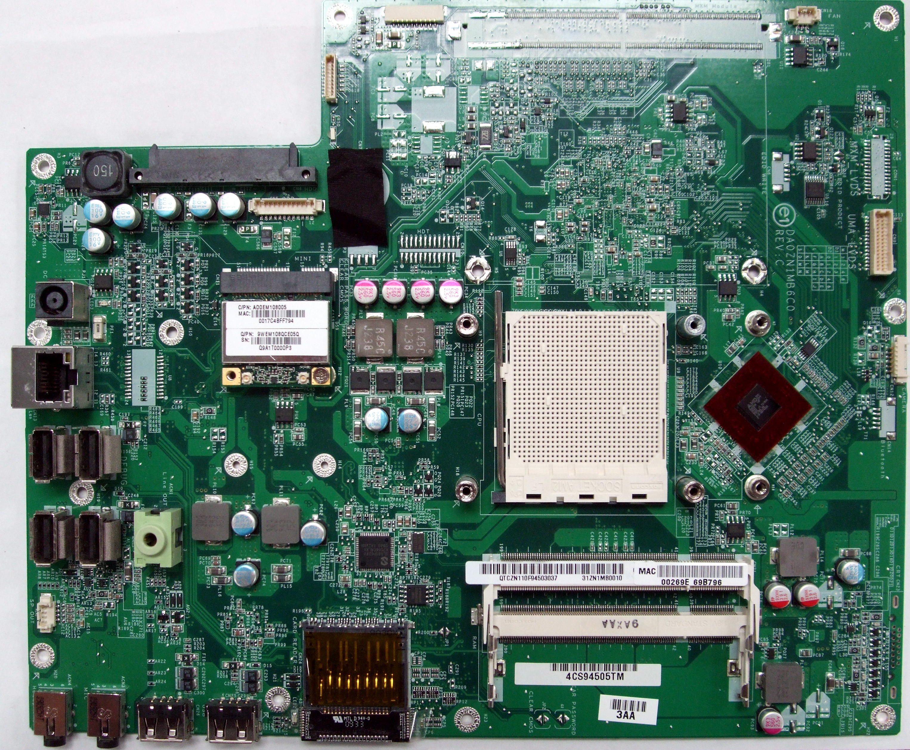 DA0ZN1MB6C0 31ZN1MB0010 HP Pavilion MS200 MS215uk PC Motherboard - HP 597920-001