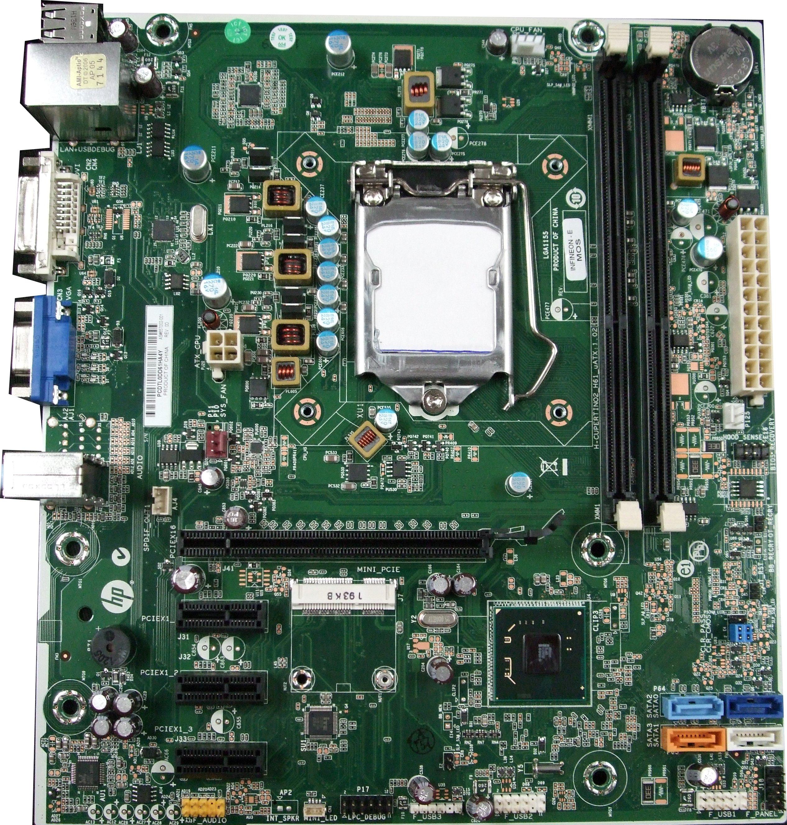 657002-001 HP Infinion - E Socket LGA1155 Motherboard H-CUPERTINO2_H61_uATX:1.02