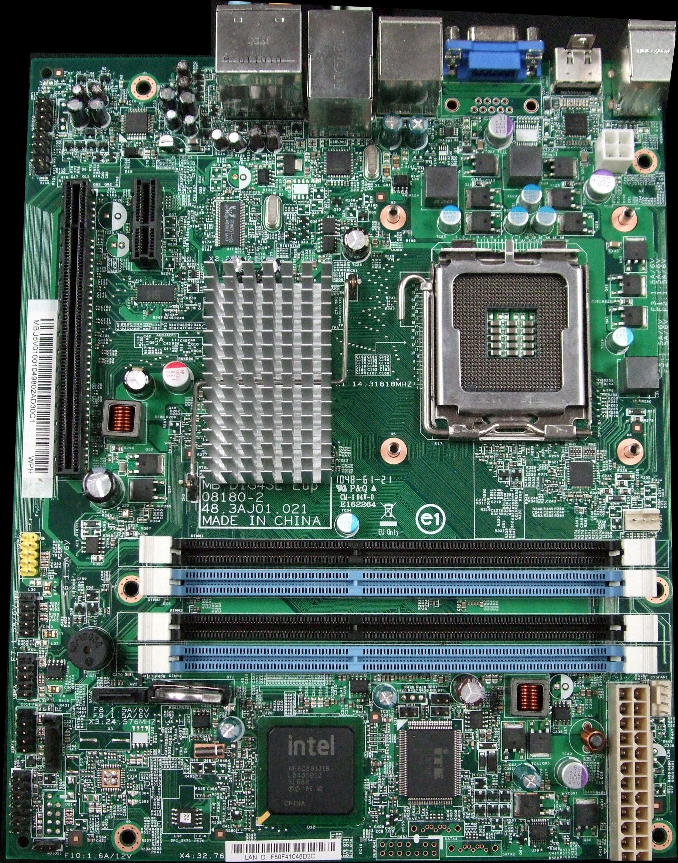 DIG43L Eup 08180-2 48.3AJ01.021 Socket 775 System Motherboard MB.SF401.001