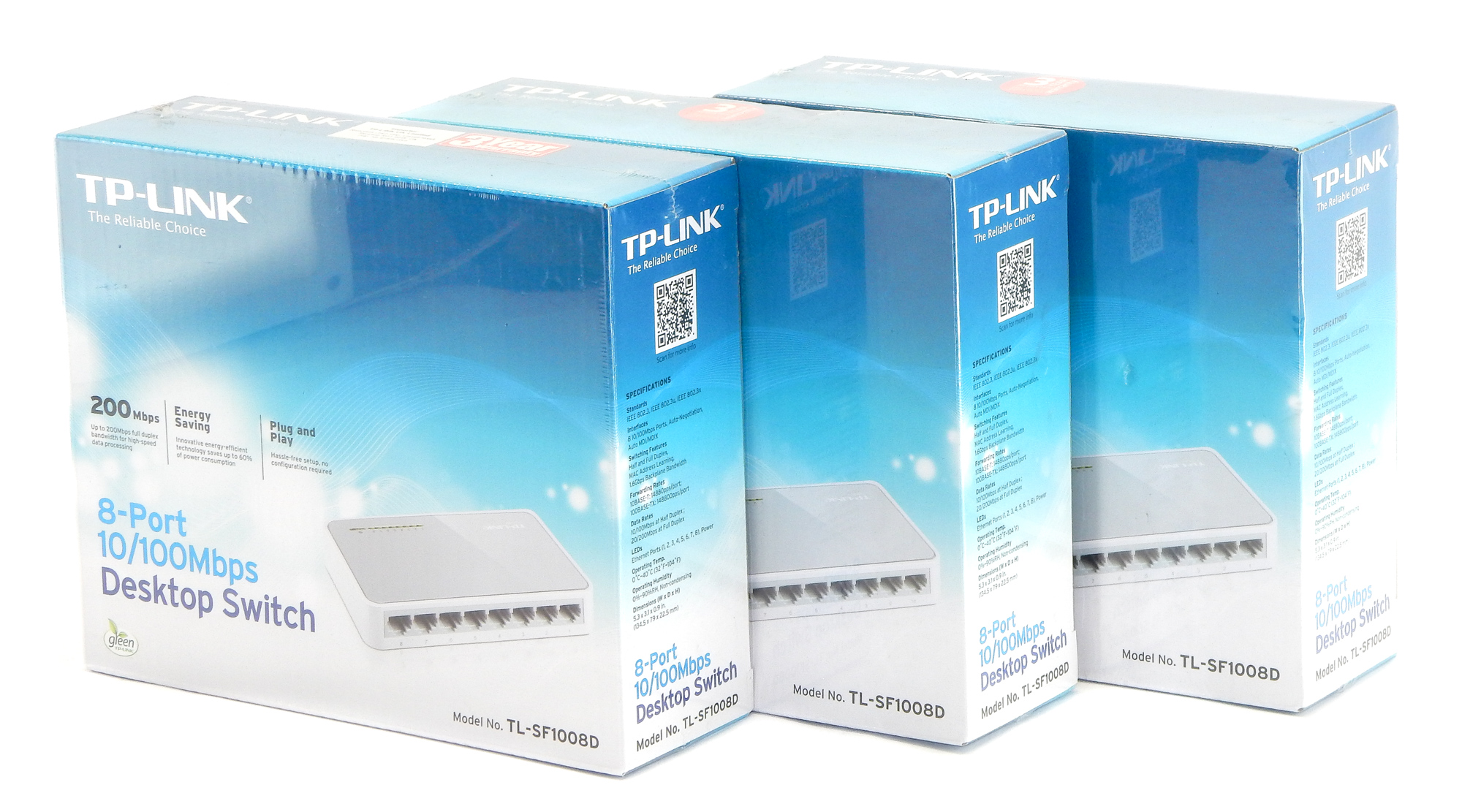 3x NEW TP-Link TL-SF1008D 8-Port Fast Ethernet Switch
