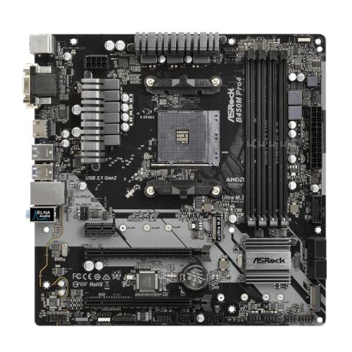 Asrock B450M PRO4, AMD B450, AM4, Micro ATX, 4 DDR4, XFire, VGA, DVI, HDMI, M.2