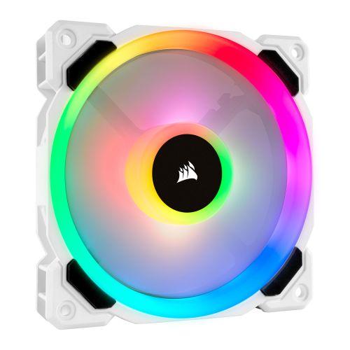 Corsair LL120 12cm PWM RGB Case Fan, 16 LED RGB Dual Light Loop, Hydraulic Bearing, White