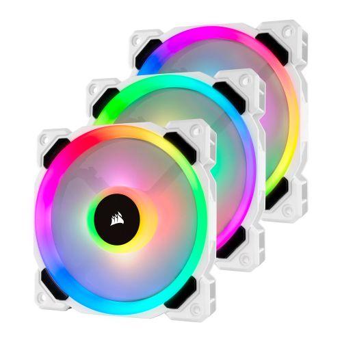 Corsair LL120 12cm PWM RGB Case Fan x3, 16 LED RGB Dual Light Loop, Hydraulic Bearing, White, Lighting Node PRO Kit Included