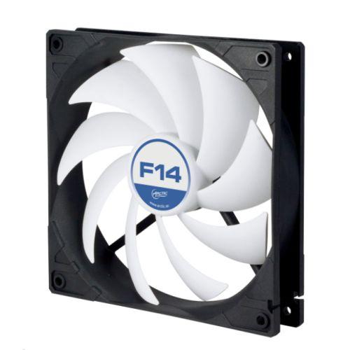 Arctic F14 14cm Case Fan, Black & White, 9 Blades, Fluid Dynamic, 6 Year Warranty