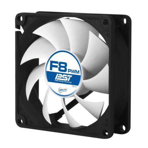 Arctic F8 8cm PWM PST Case Fan, Black & White, Fluid Dynamic, 6 Year Warranty