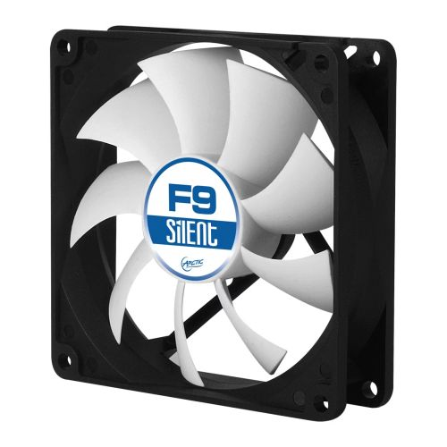 Arctic F9 Silent 9.2cm Case Fan, Black & White, 9 Blades, Fluid Dynamic, 6 Year Warranty