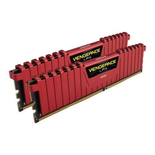 Corsair Vengeance LPX 16GB Kit (2 x 8GB), DDR4, 2400MHz (PC4-19200), CL16, XMP 2.0, DIMM Memory, Red