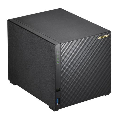 ASUSTOR AS3204T V2 4-Bay NAS Enclosure (No Drives), Quad Core CPU, 2GB DDR3L, HDMI, USB3, Dual GB LAN, Diamond-Plate Finish