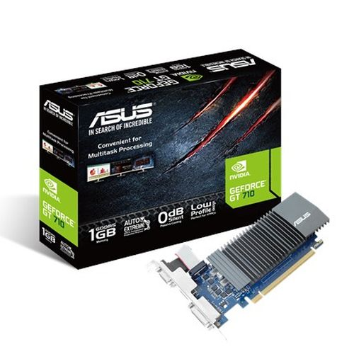 Asus GT710, 1GB DDR5, PCIe2, VGA, DVI, HDMI, 954MHz Clock, Silent, Low Profile (