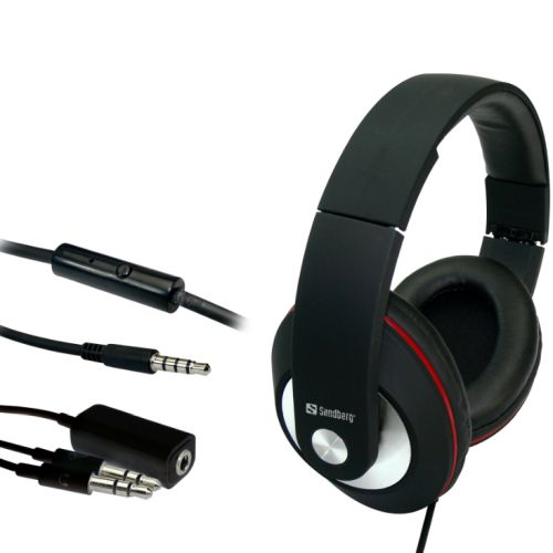 Sandberg (125-86) Play and Go Headset, 40mm Driver, Inline Microphone, 3.5mm Jack, Red & Black, 5 Year Warranty