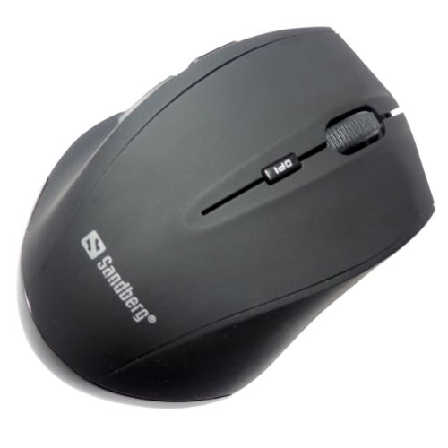 Sandberg (630-06) Wireless Optical Mouse, 1600 DPI, 5 Buttons, Black, 5 Year Warranty