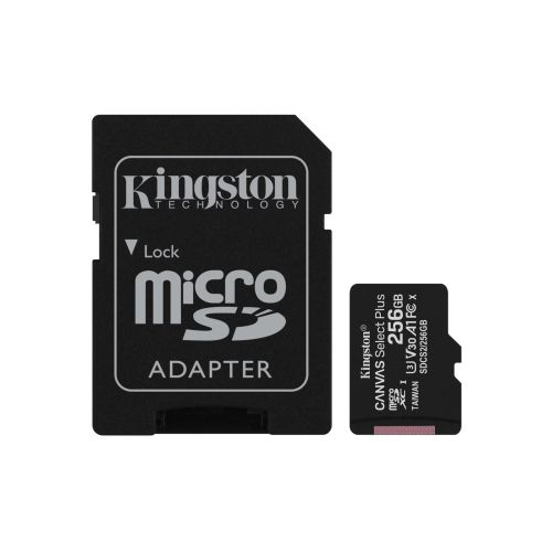 Kingston 256GB Canvas Select Plus Micro SDXC Card with SD Adapter, Class 10 with