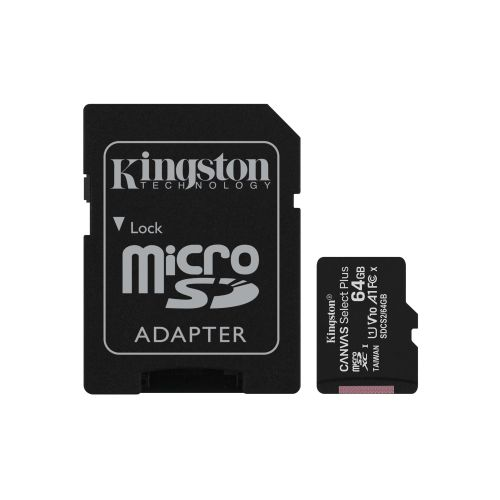 Kingston 64GB Canvas Select Plus Micro SD Card with SD Adapter, UHS-I Class 10 w